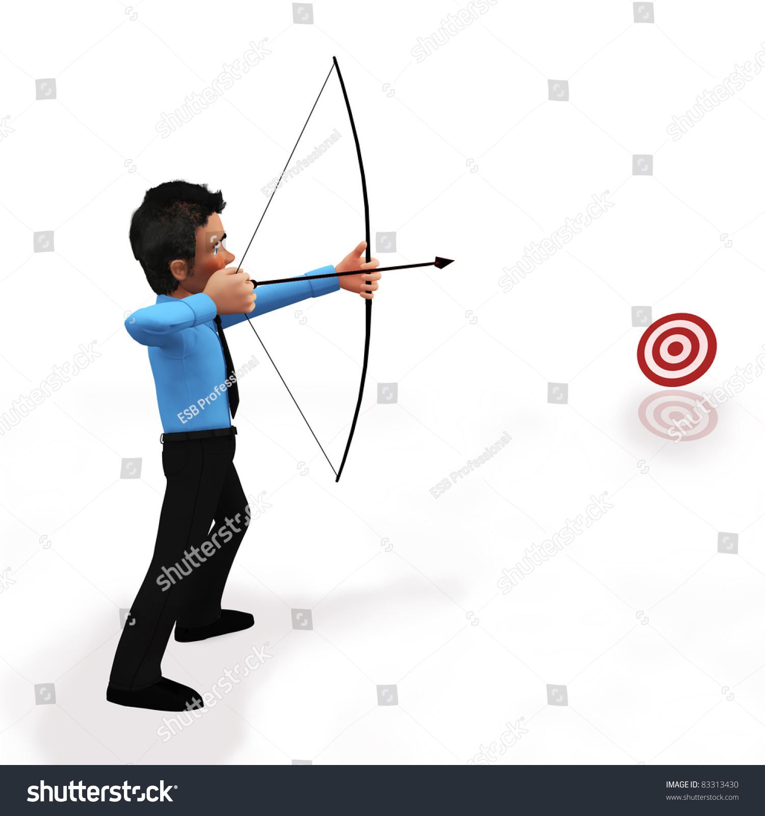 Male Character Holds Big Bow Aims Target With Arrow Isolated Isometric 3d Vector Illustration On White Background Man In Sports Wear Does