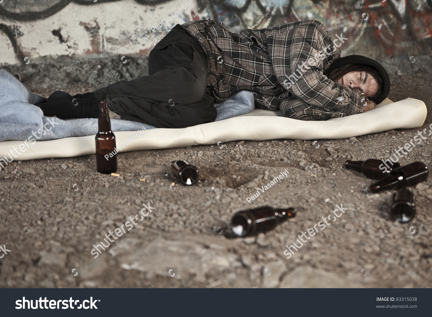 Homeless Alcoholic Drinking Beer Royalty Free Stock Photography ...