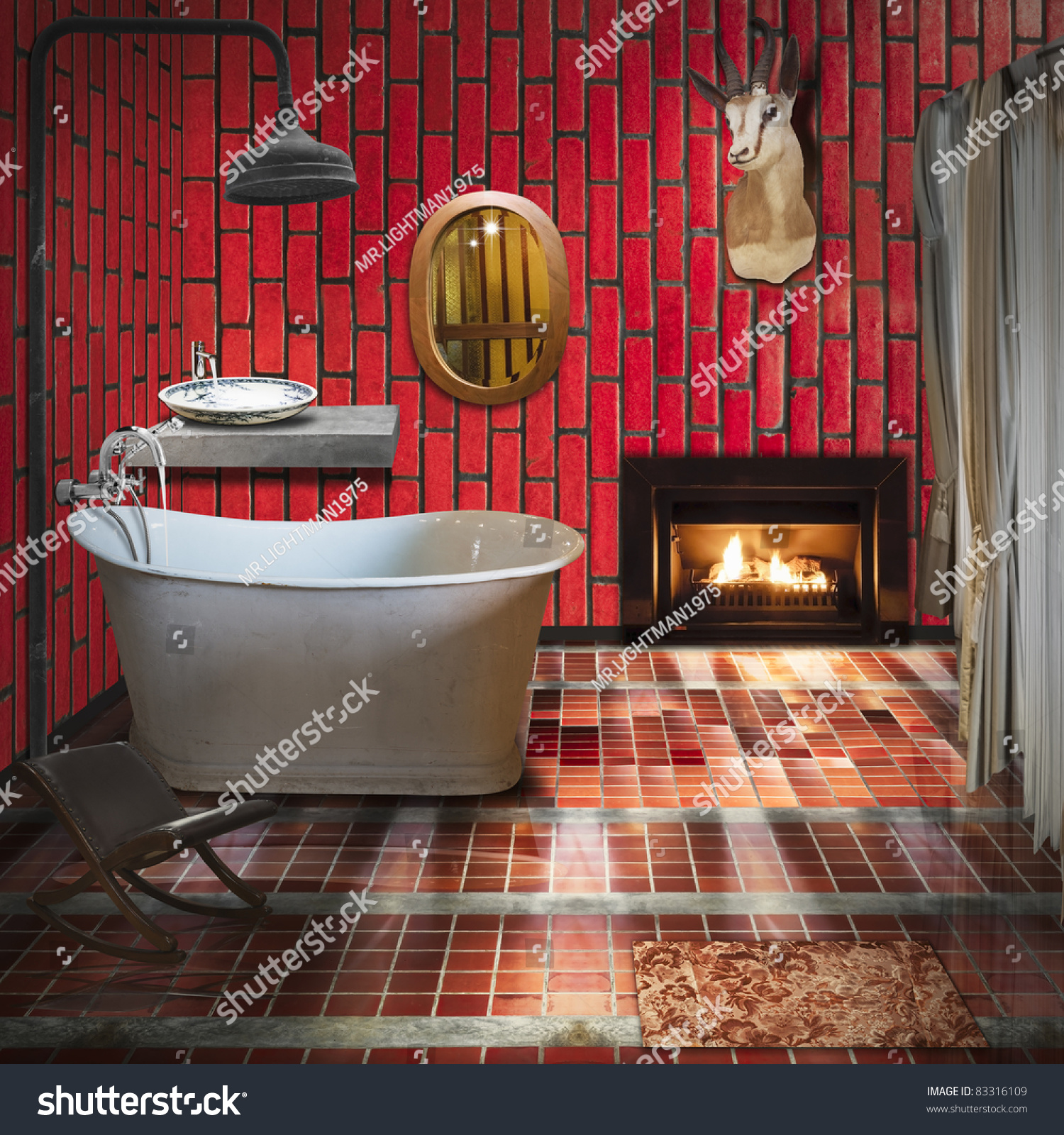 Retro style in interior design chinese living room decor Bathroom in chinese characters