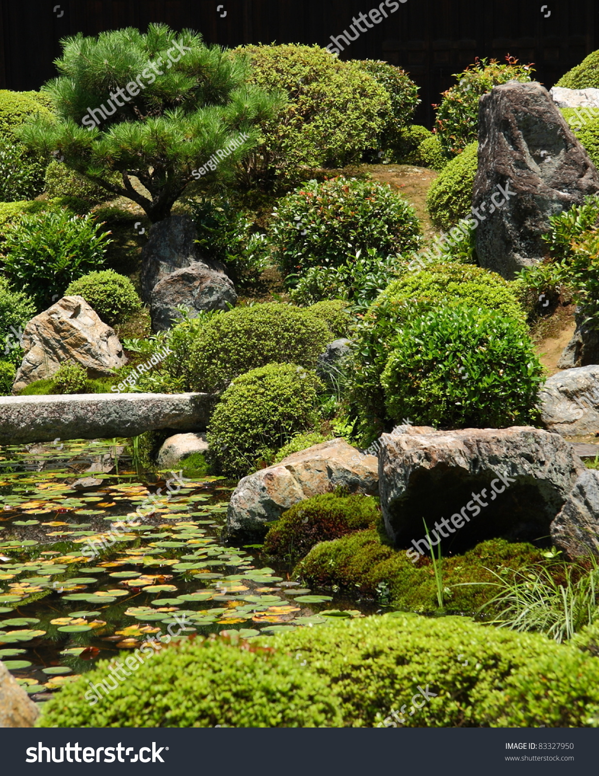 nice japanese garden with a stone bridge preview save to a lightbox