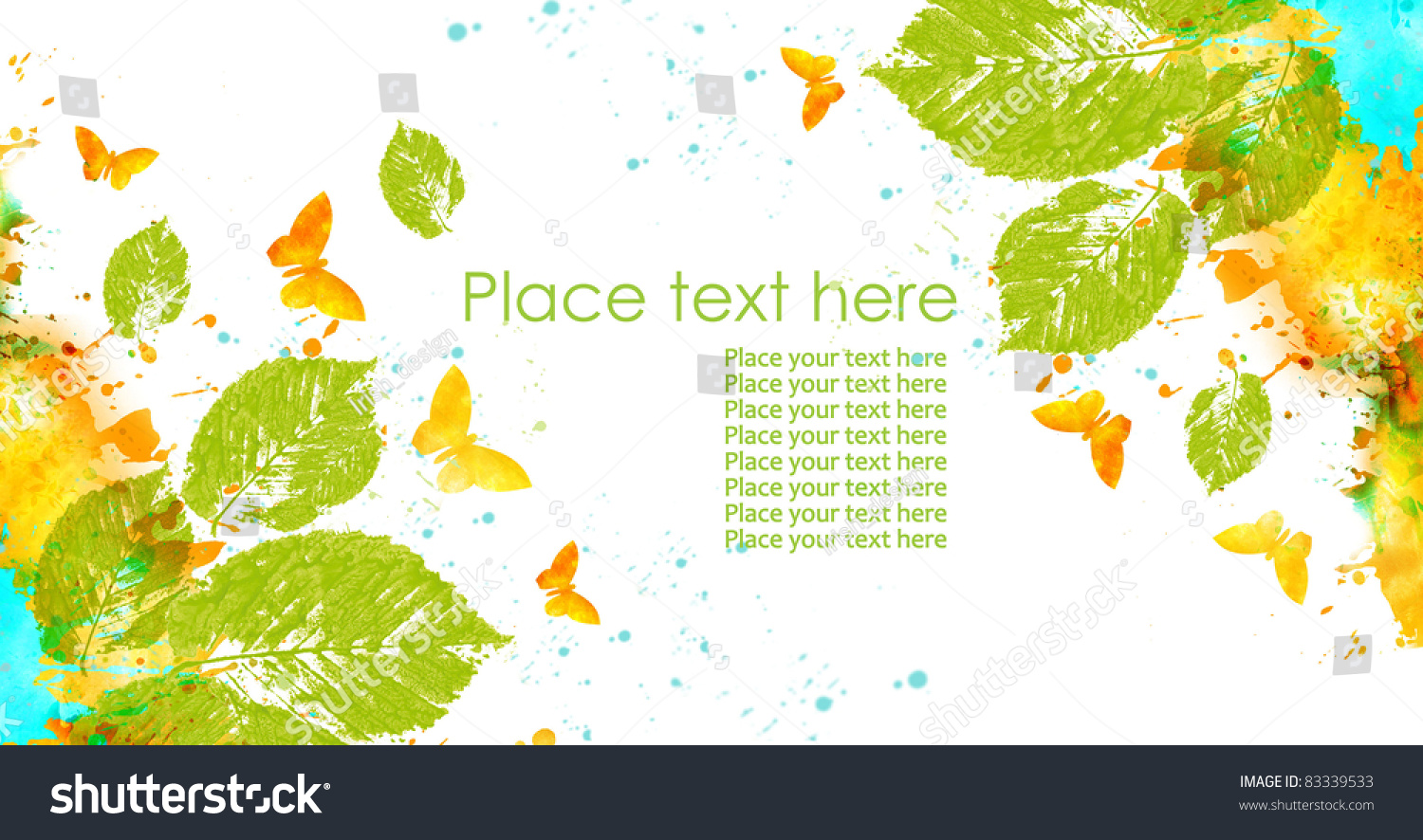 Nature Design Leaves Butterflies Abstract Spots Stock Illustration ...