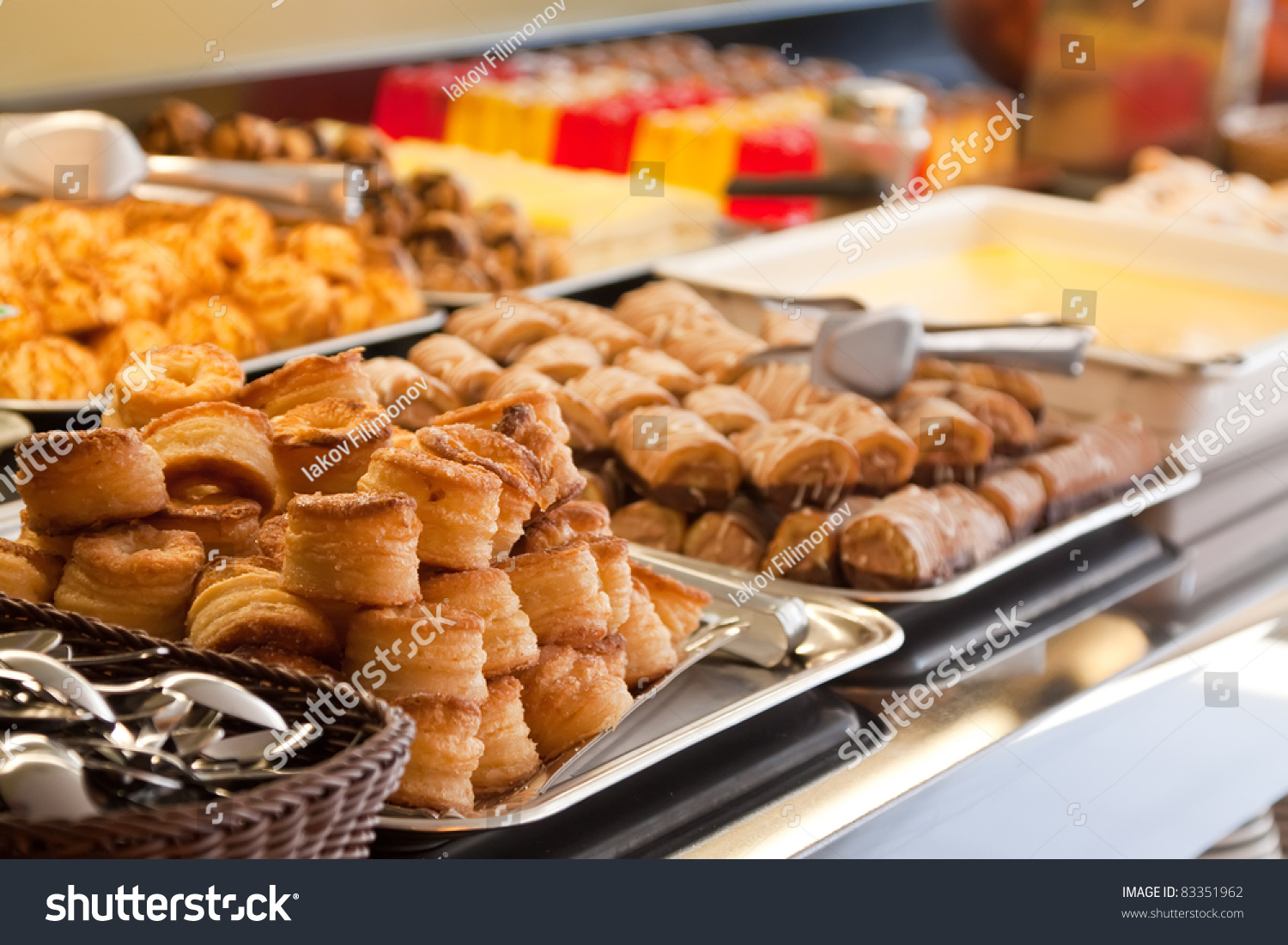 Assortment Of Fresh Pastry On Table In Buffet