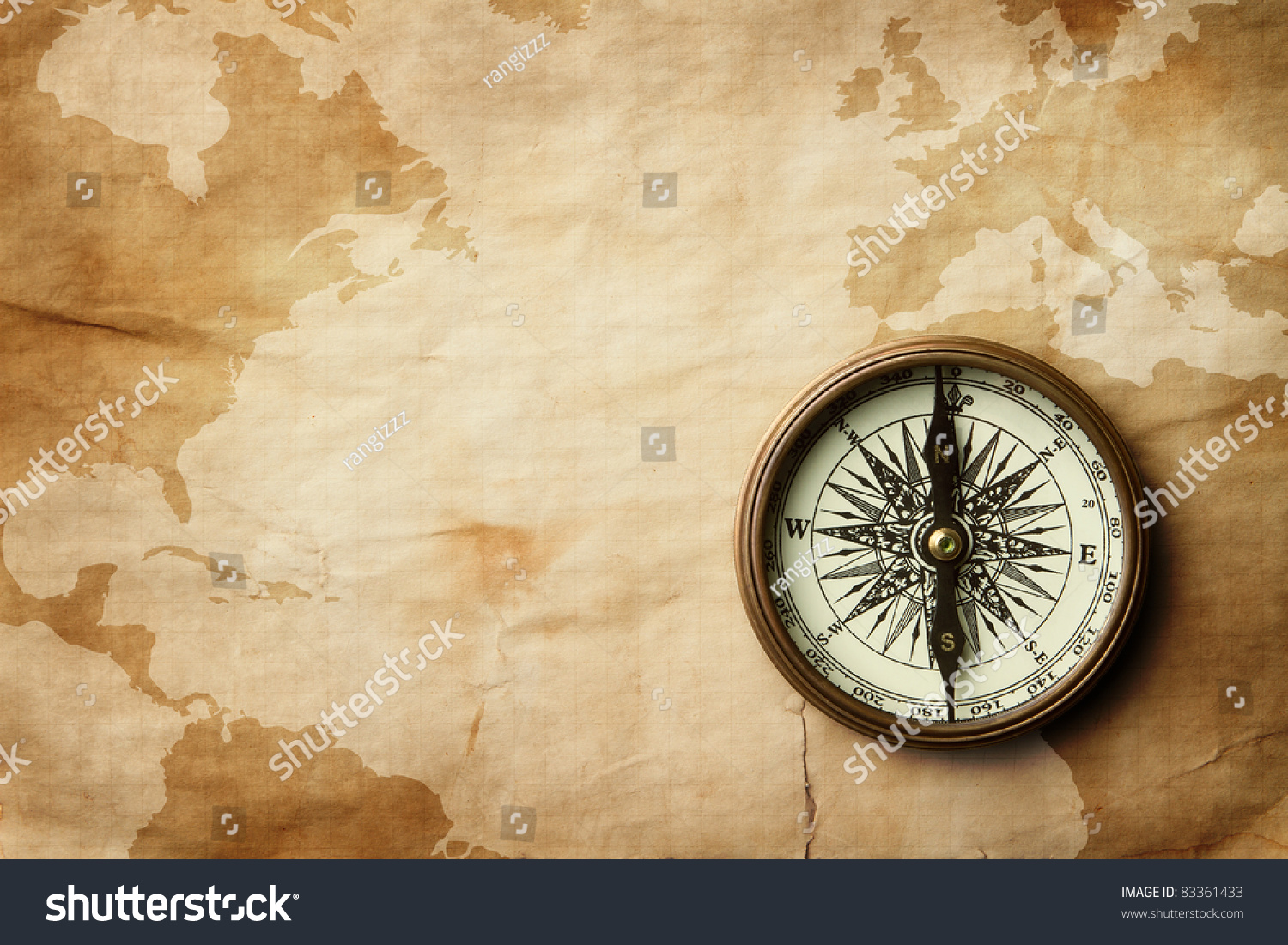 Vintage Compass Old Crumpled World Map Stock Photo