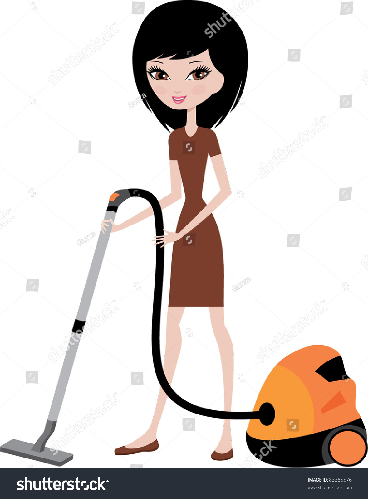 Vacuum cleaner clipart vacuum cleaner clip art - Pretty Girl With Vacuum Cleaner Vector Color Full No Gradient