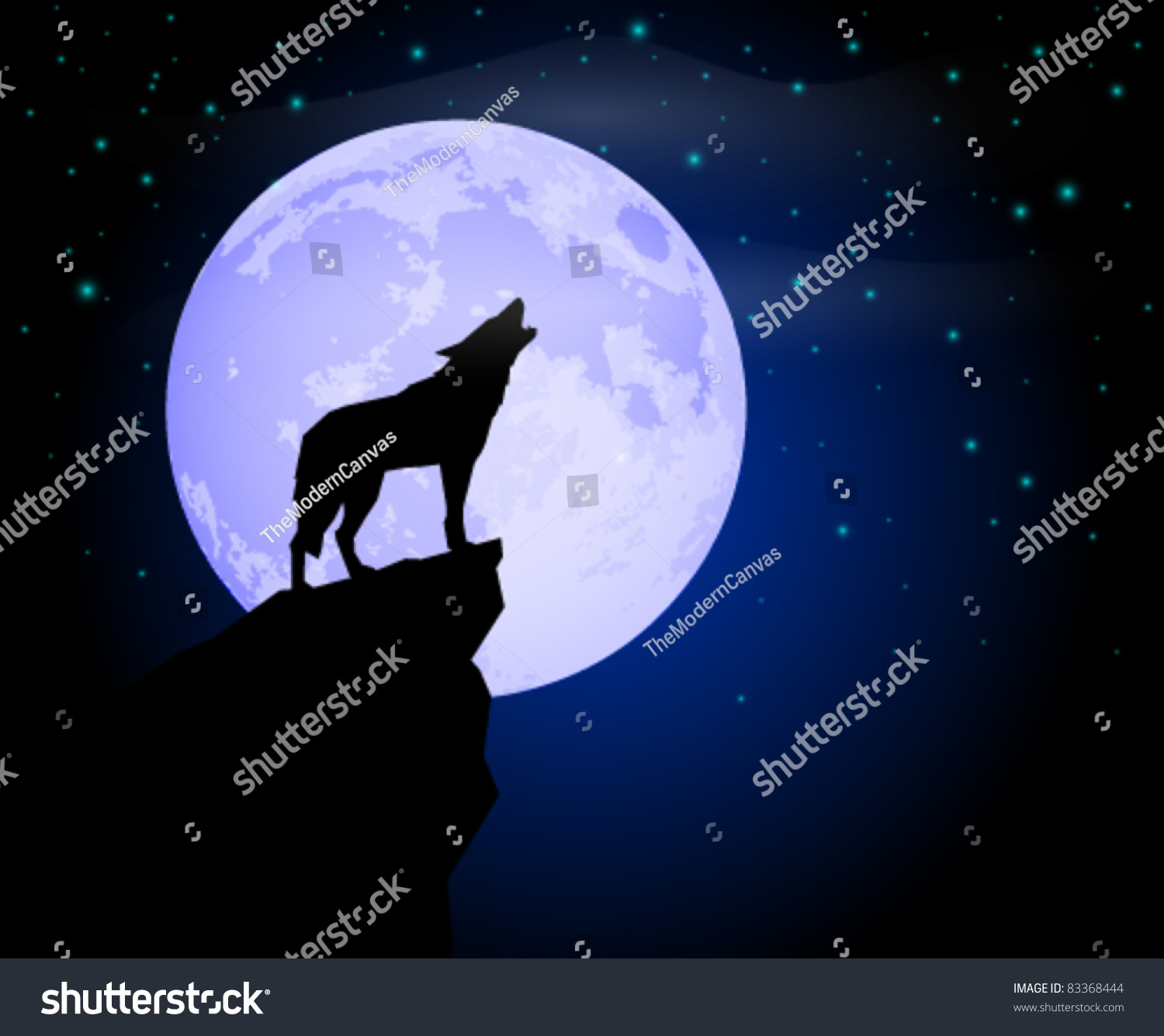 Wolf Howling Moonlight Stock Vector - 284.2KB