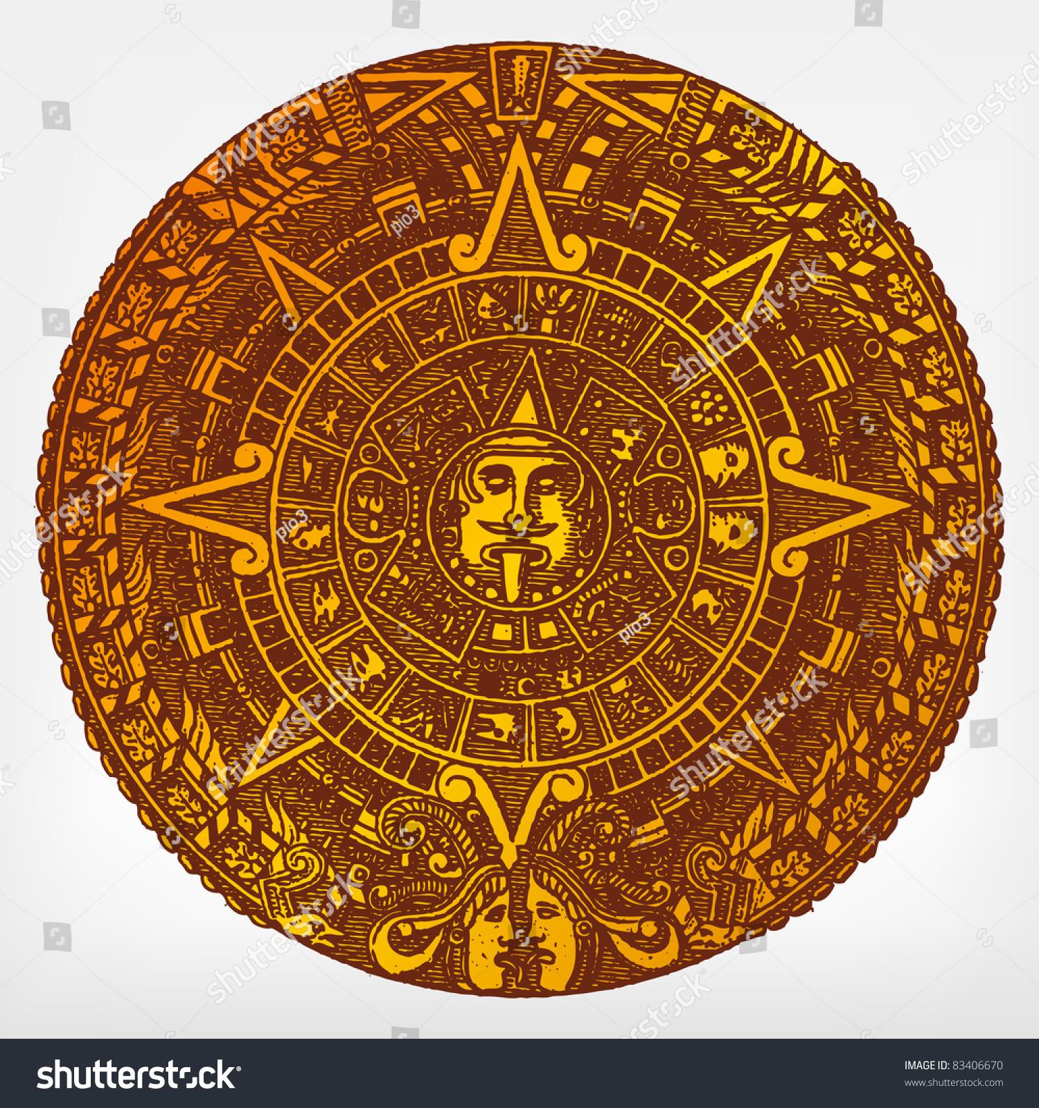 Mayan Calendar Vector Art : Engraving vintage maya calendar the complete stock vector