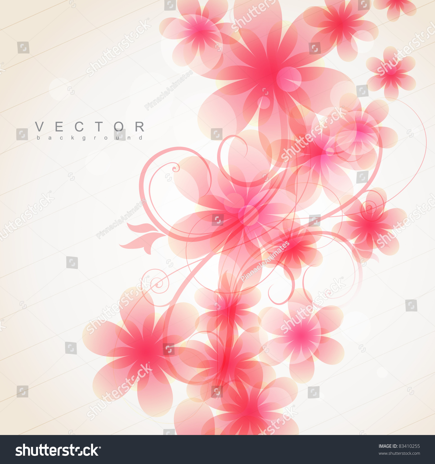 Elegant Soft Pink Color Flowers Vector Stock Vector Royalty Free