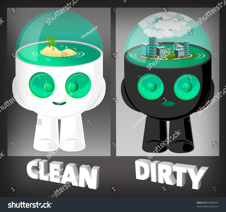 Cute Water Head Robots Illustration Environment Stock Illustration ...