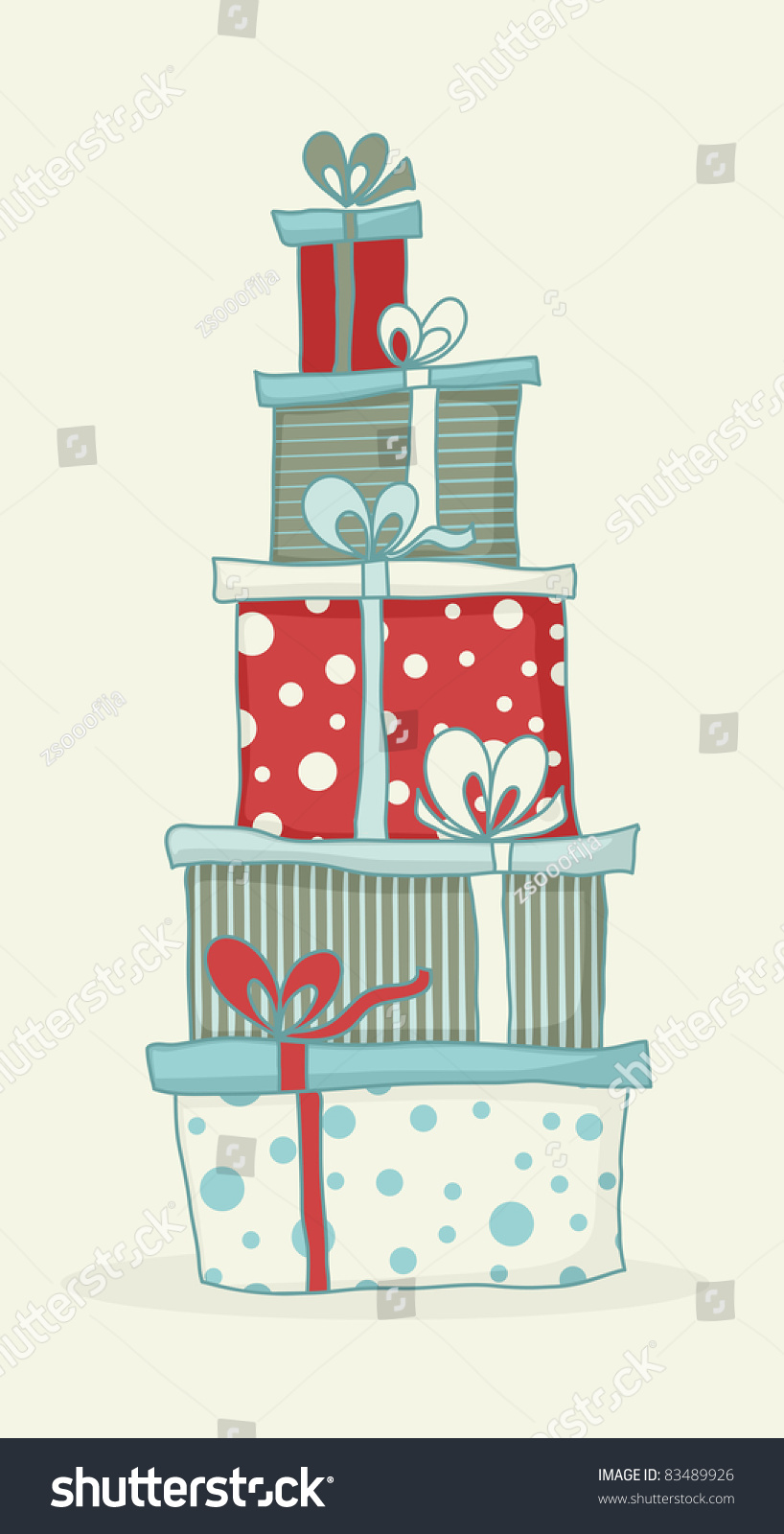 Colorful cartoon gift boxes for christmas or birthday card