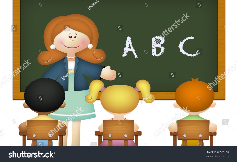 Teacher Teaching Abc Students Classroom Stock Illustration ...
