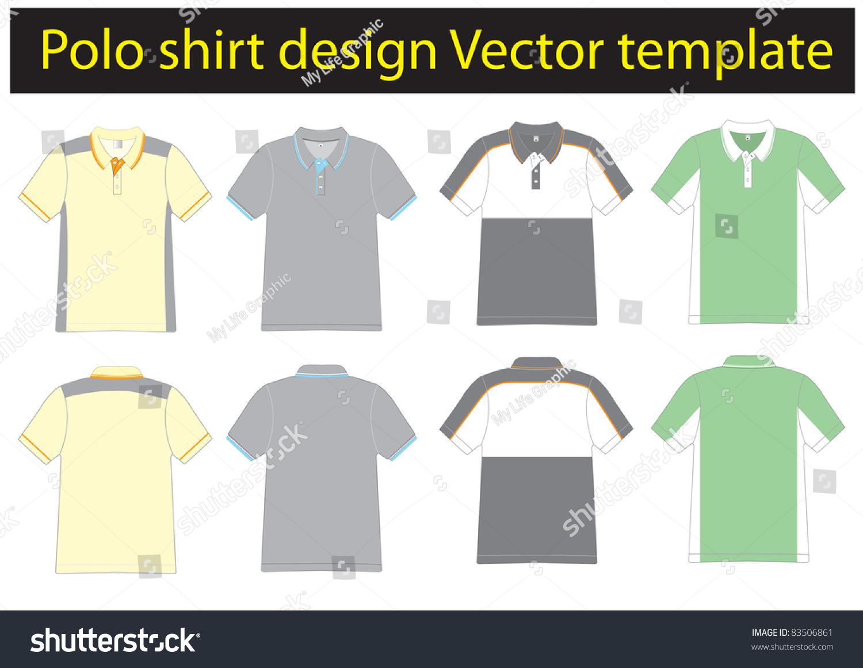 Polo Shirt Design Lined Vector Template Stock Vector 83506861