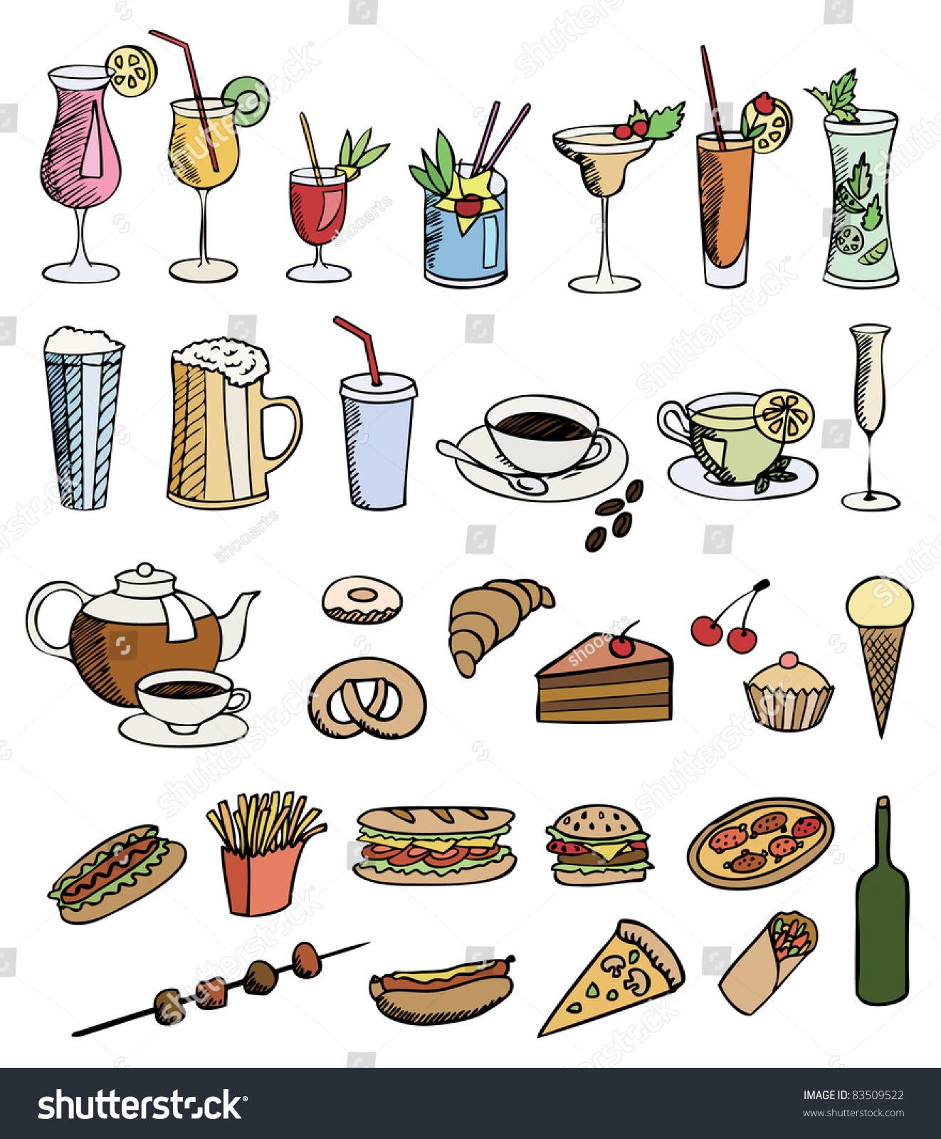food drink color vector set stock vector 83509522 shutterstock