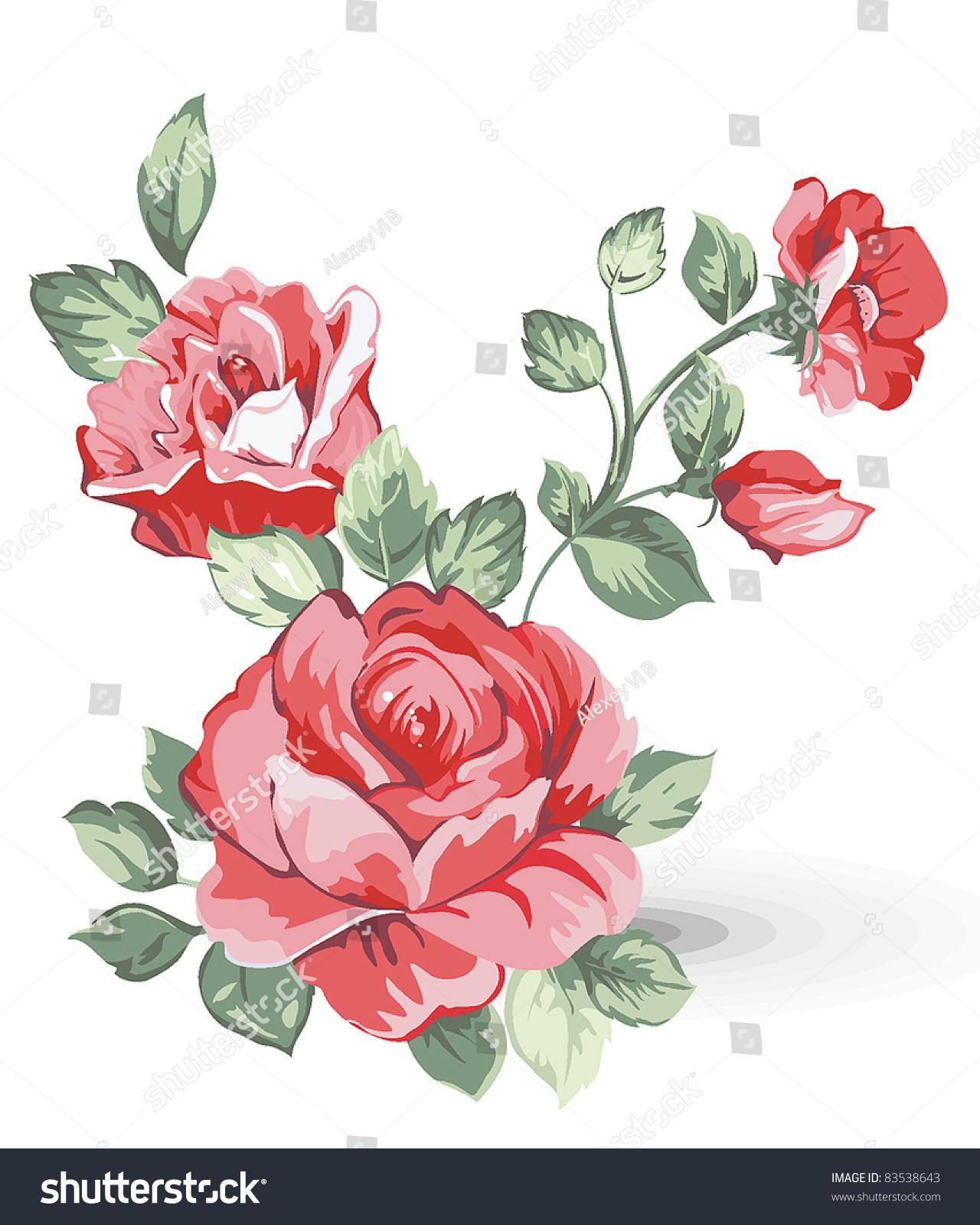 Elegance Illustration Pink Flowers Bouquet Isolated Stock Photo ...