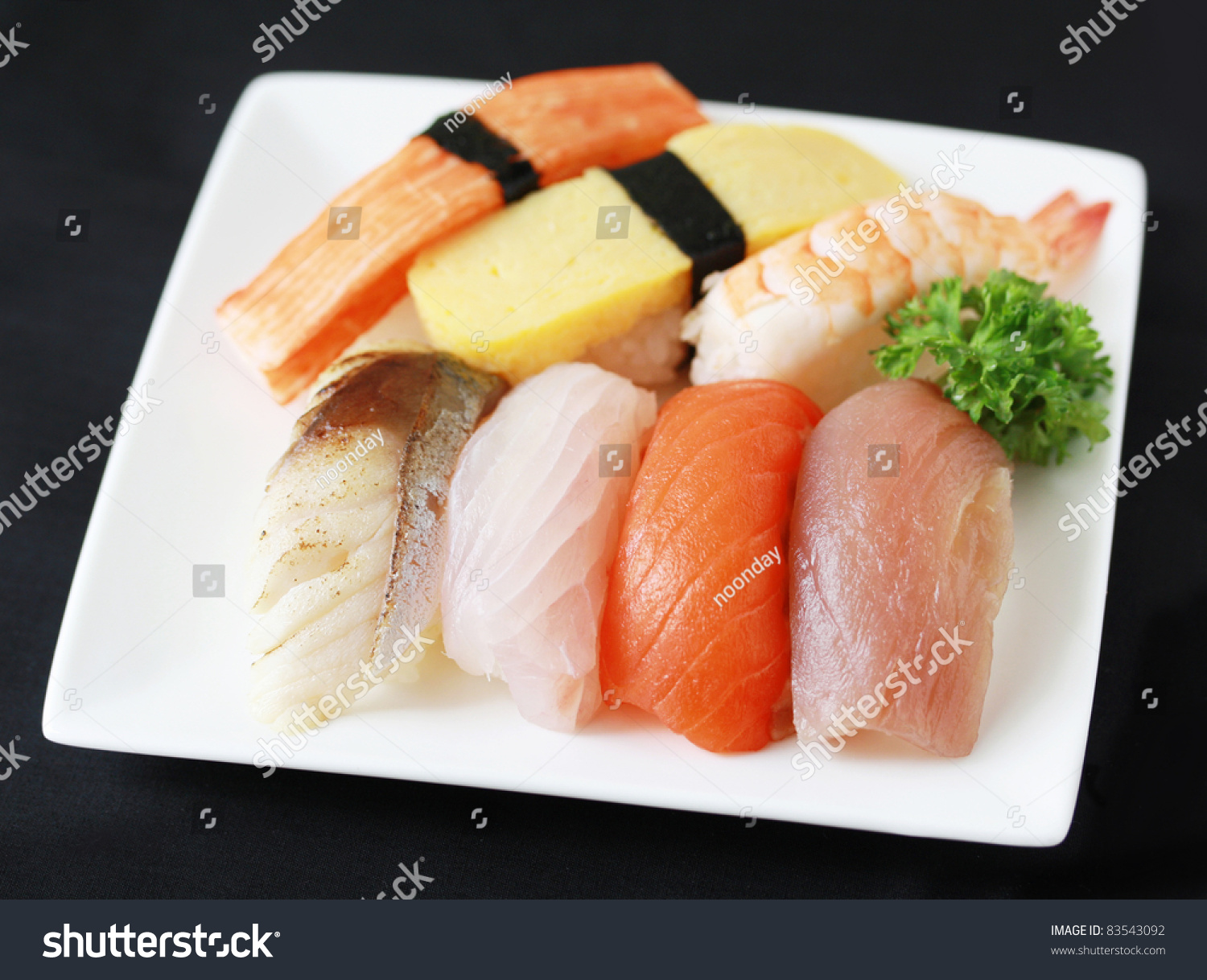 Sushi raw fish grilled fish egg stock photo 83543092 for Is sushi raw fish