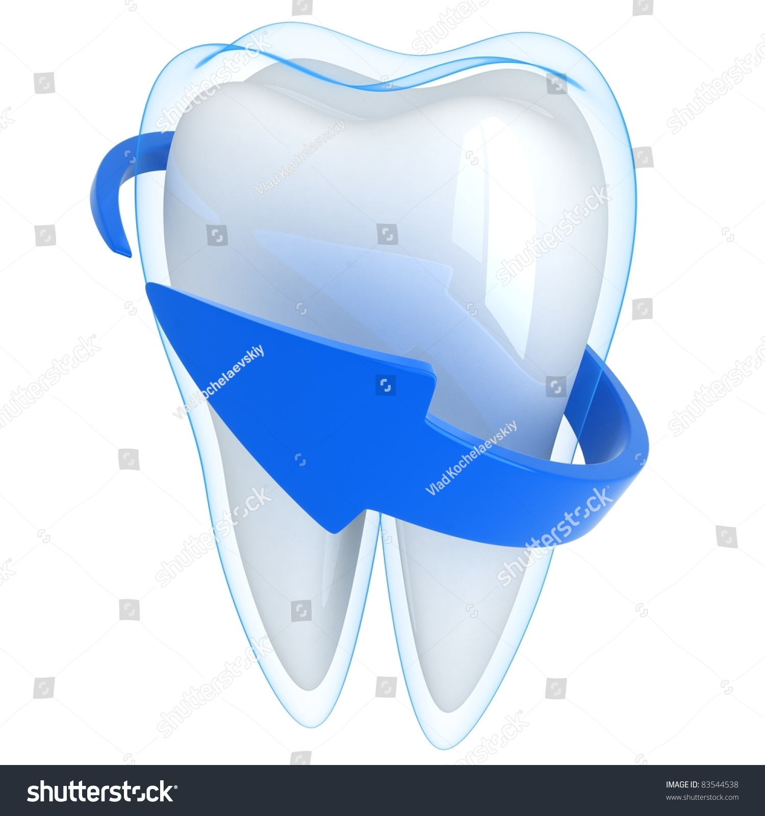 Tooth and blue shell done in 3D isolated