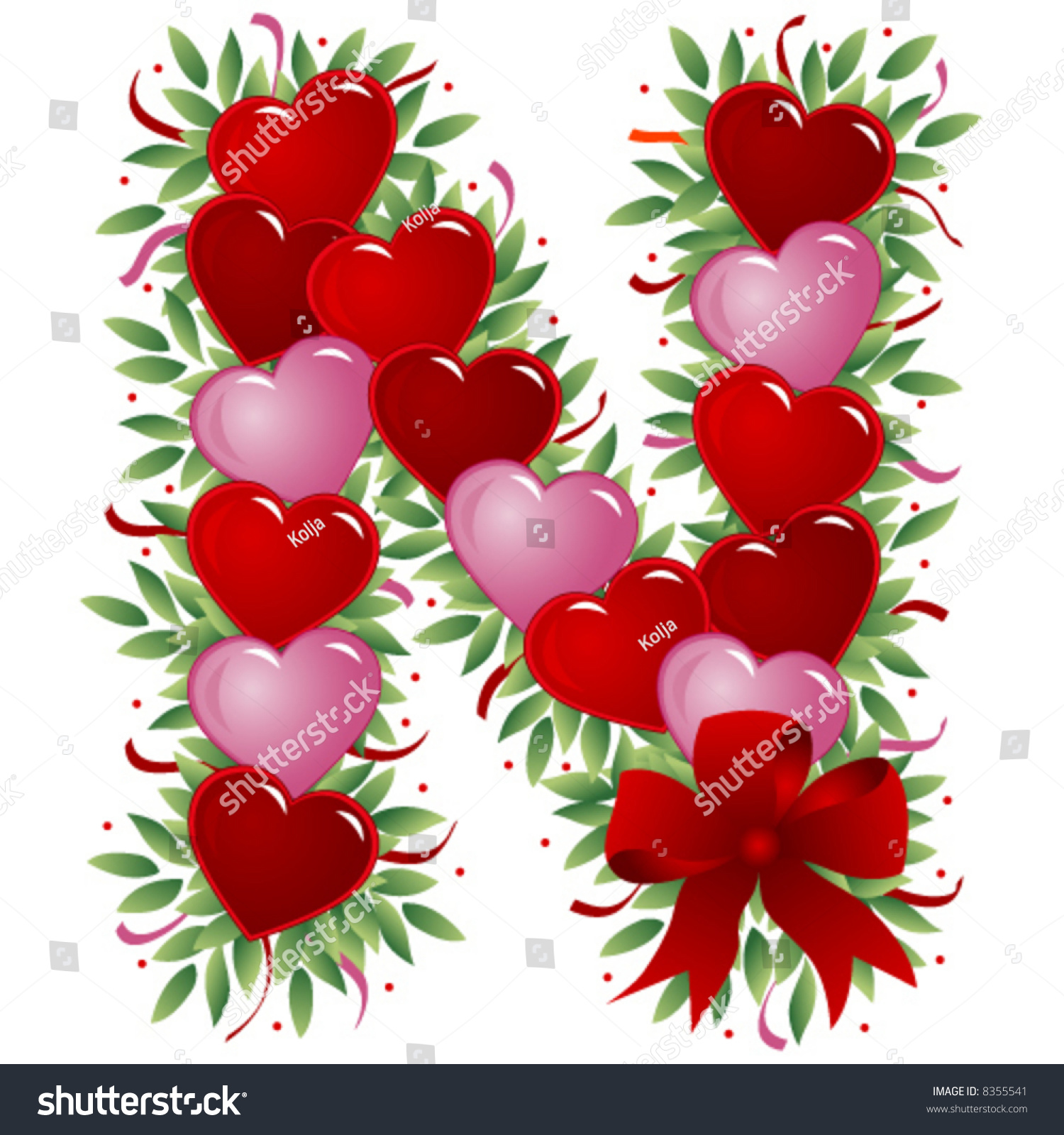 Letter n valentine 39 s love letters stock vector - N letter images ...