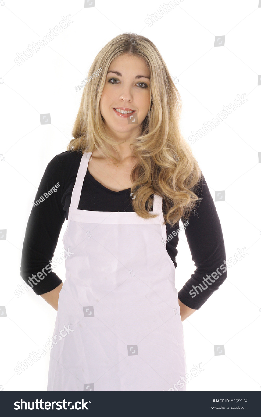 White apron girl - Beautiful Woman In Apron Isolated On White