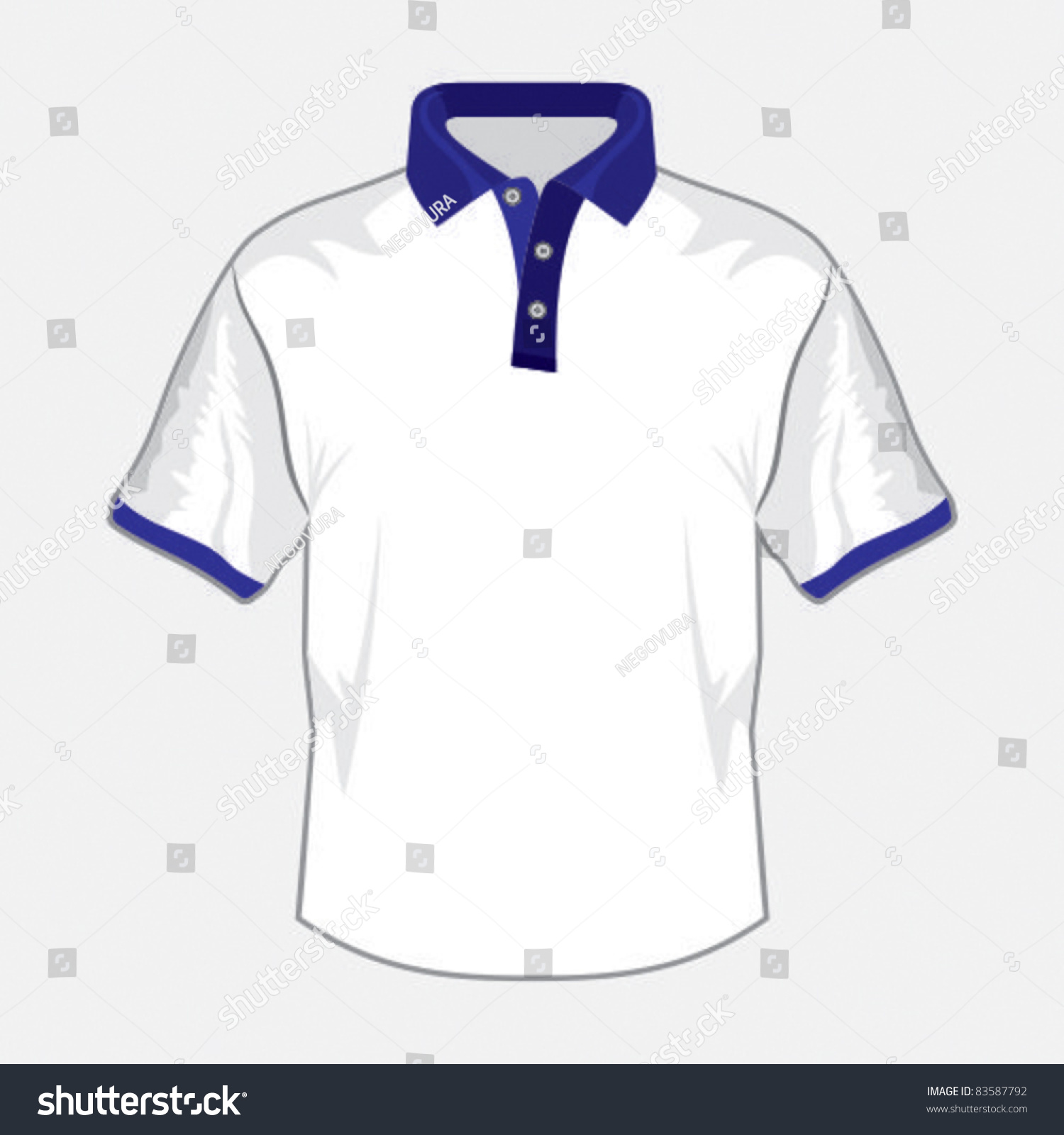 white polo shirt design with dark blue collar stock vector