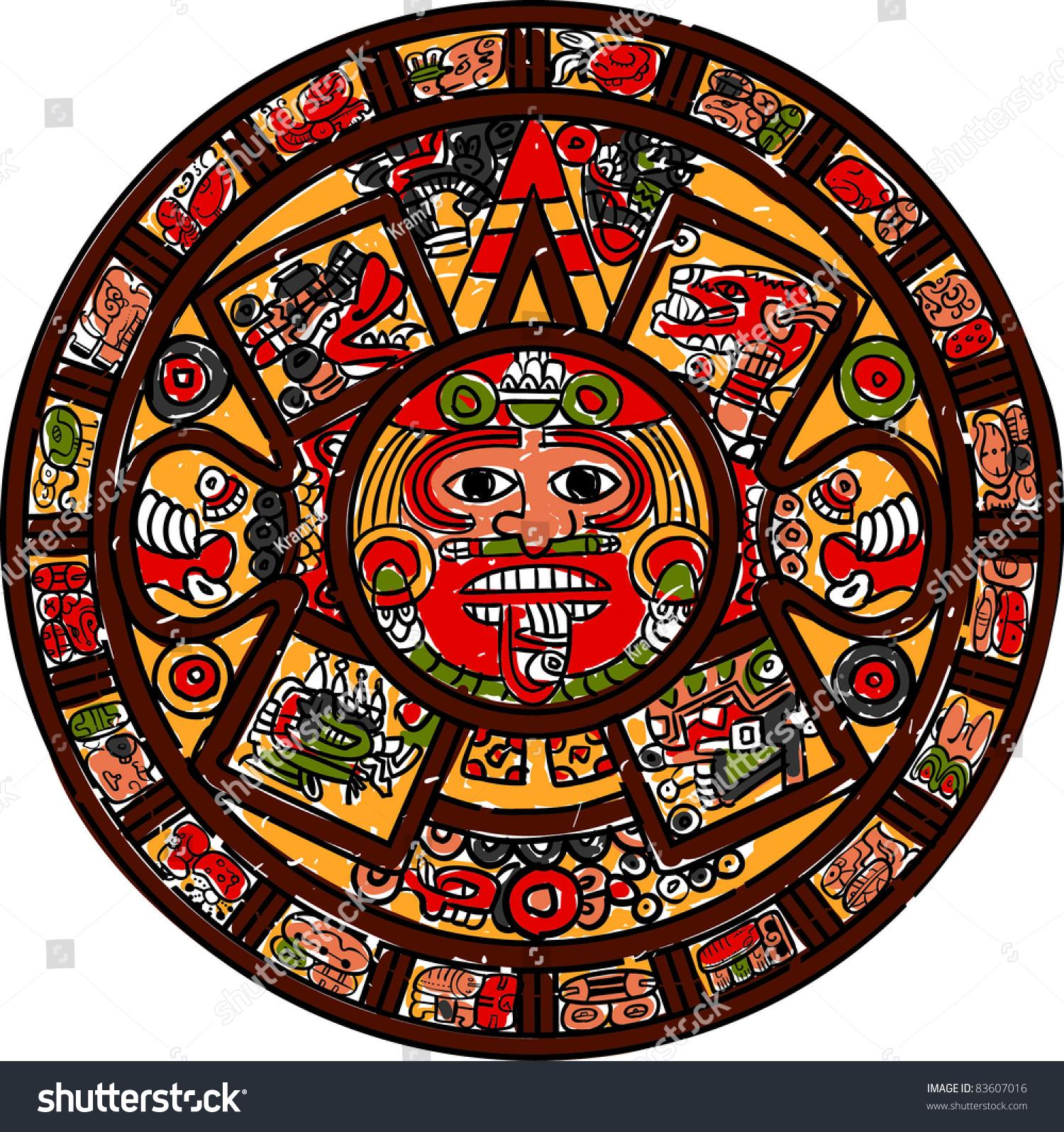 Mayan Calendar Stock Vector Illustration 83607016 : Shutterstock