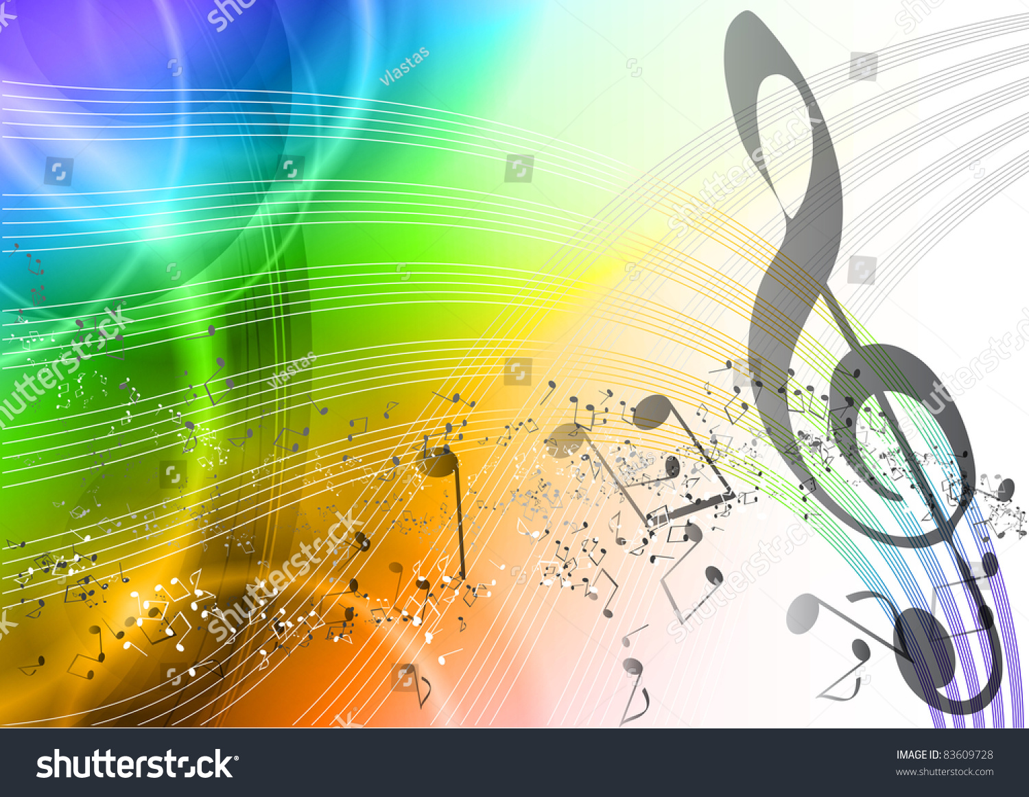 Rainbow Notes On Light Background Stock: Rainbow Music Background With Notes Stock Vector