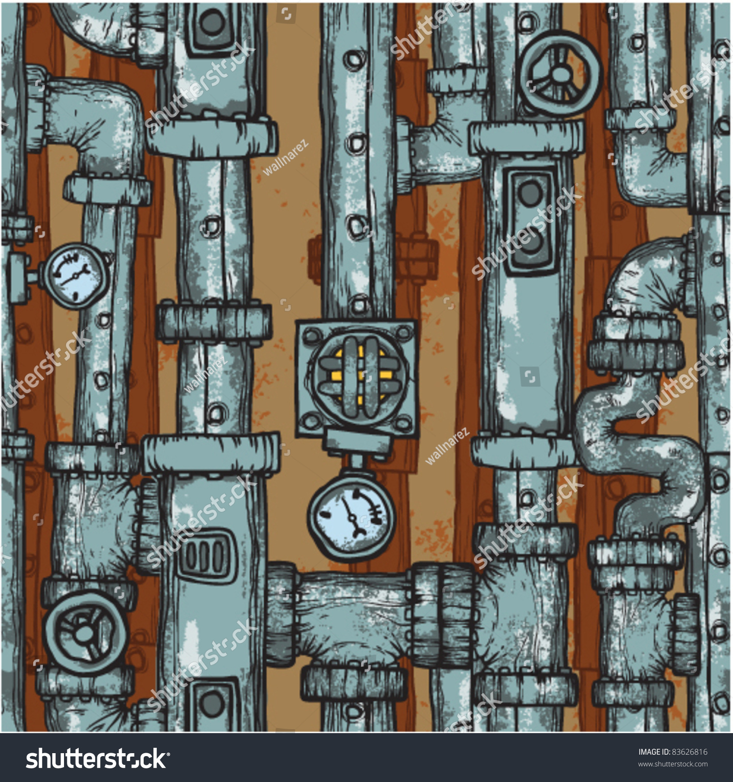 Steampunk Pipes Field Seamless ...