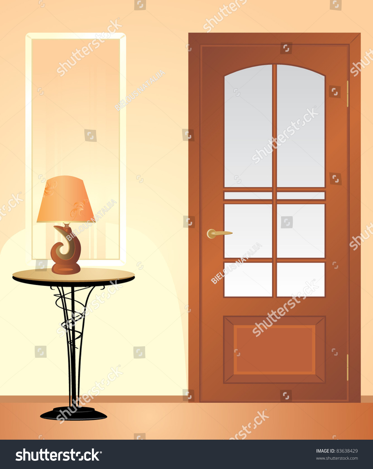 Table Night Lamp Fragment Of Living Room Vector