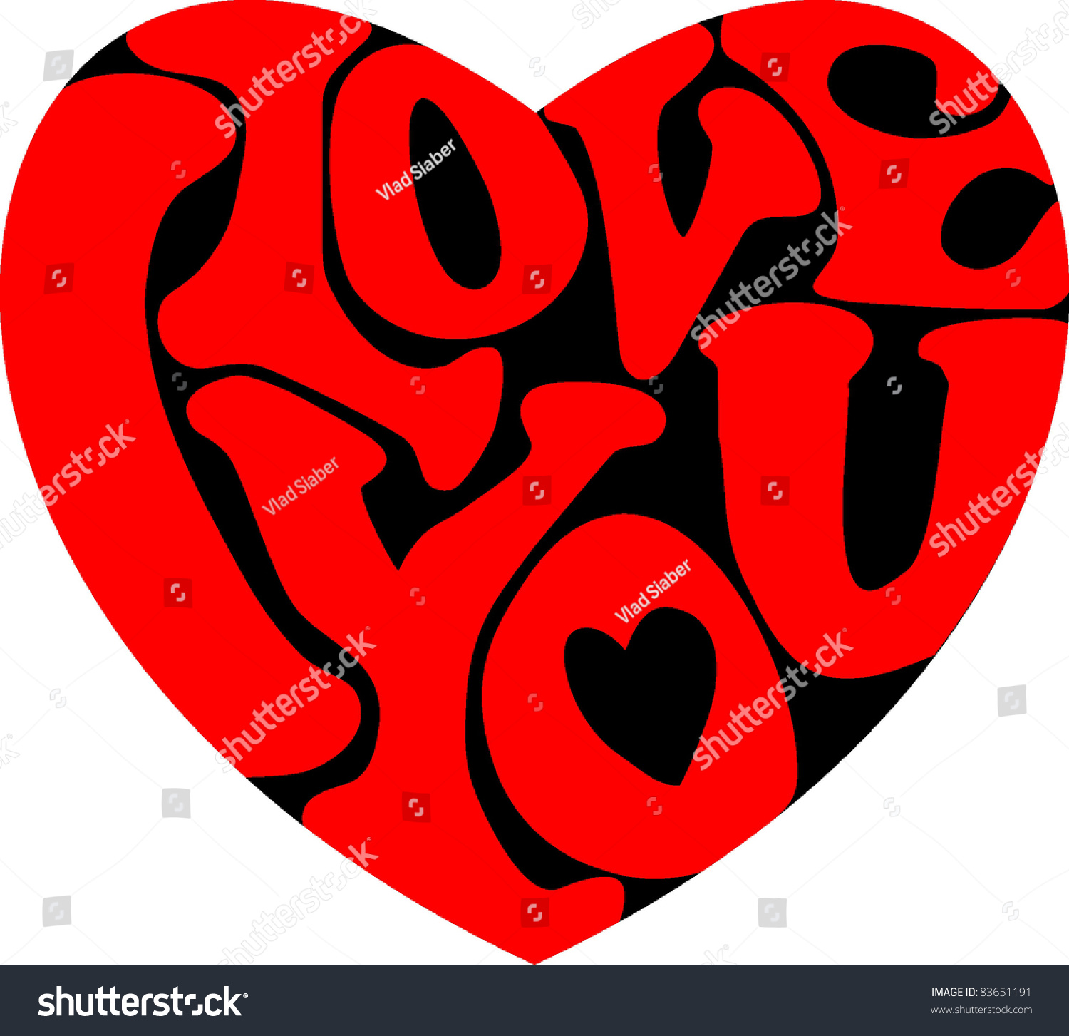 Words I Love You Shaped Heart Stock Vector 83651191 ...