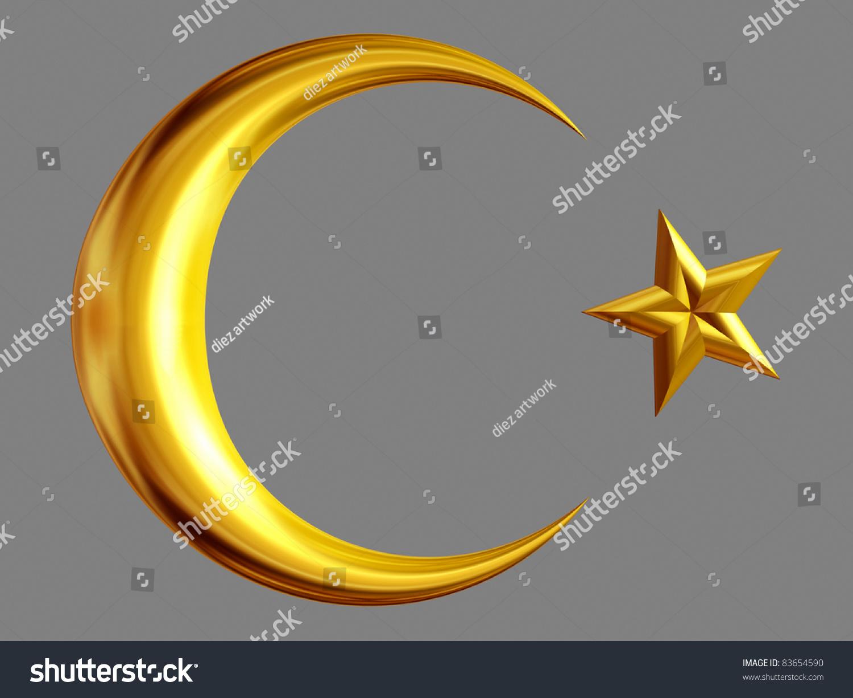 Half moon star gold symbol nations stock illustration 83654590 half moon and star in gold symbol of nations and the islam biocorpaavc