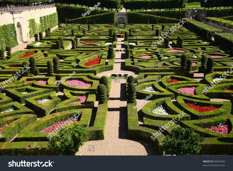 Traditional French Garden Chateau De Villandry Stock Photo