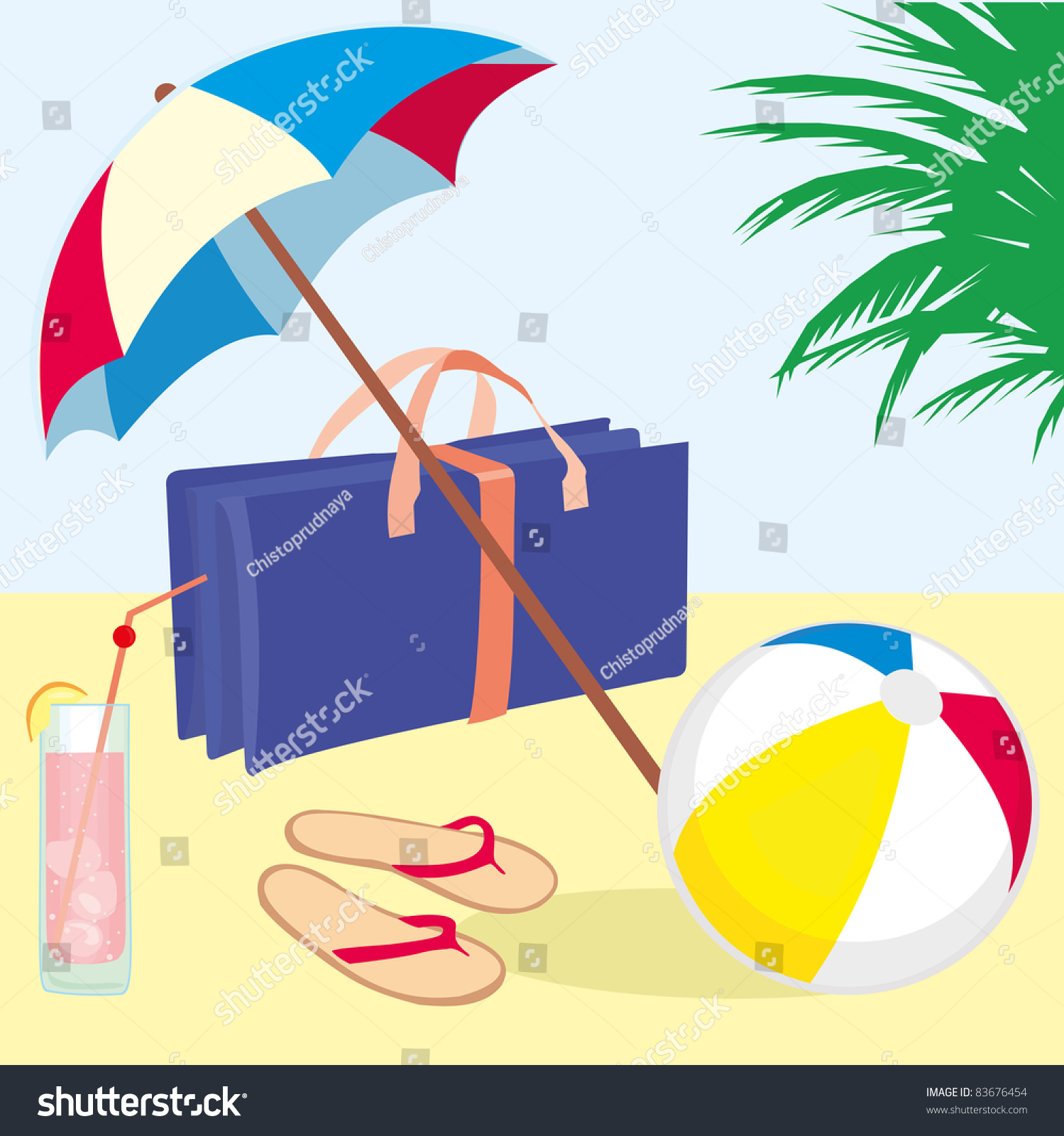 Summer Vacation Beach With Flip Flops Beach Ball Cocktail Beach Umbrella And Folding Beach