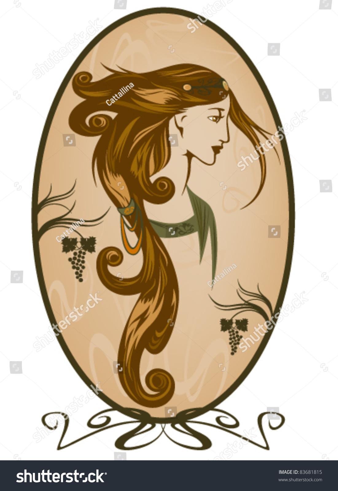 art nouveau style woman portrait stock vector illustration