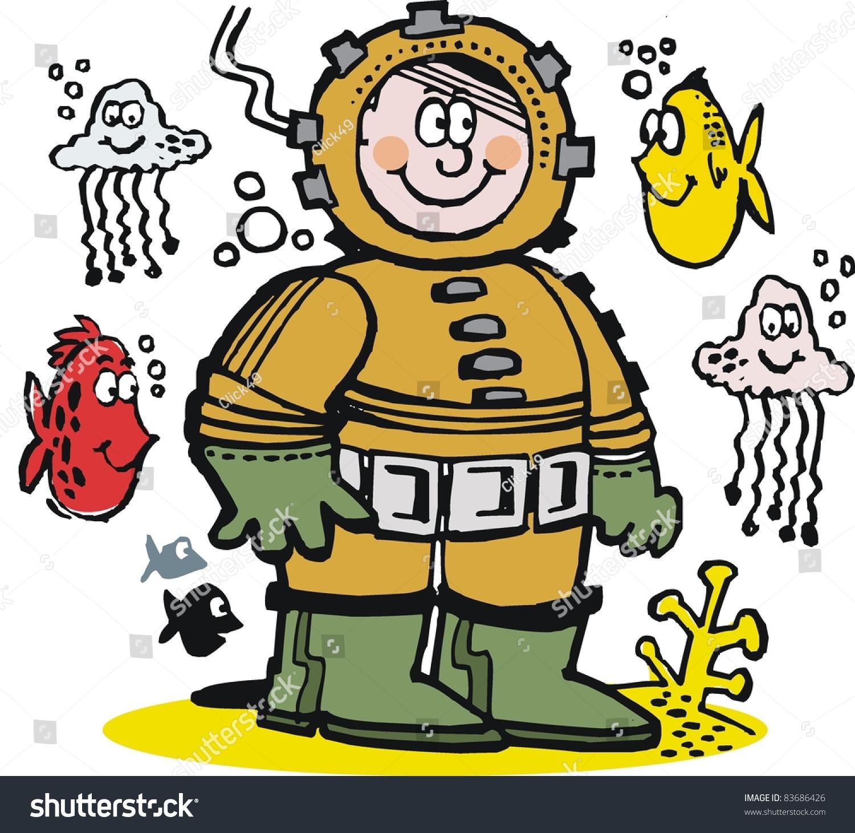 Stock Vector Vector Cartoon Of Commercial Diver Underwater