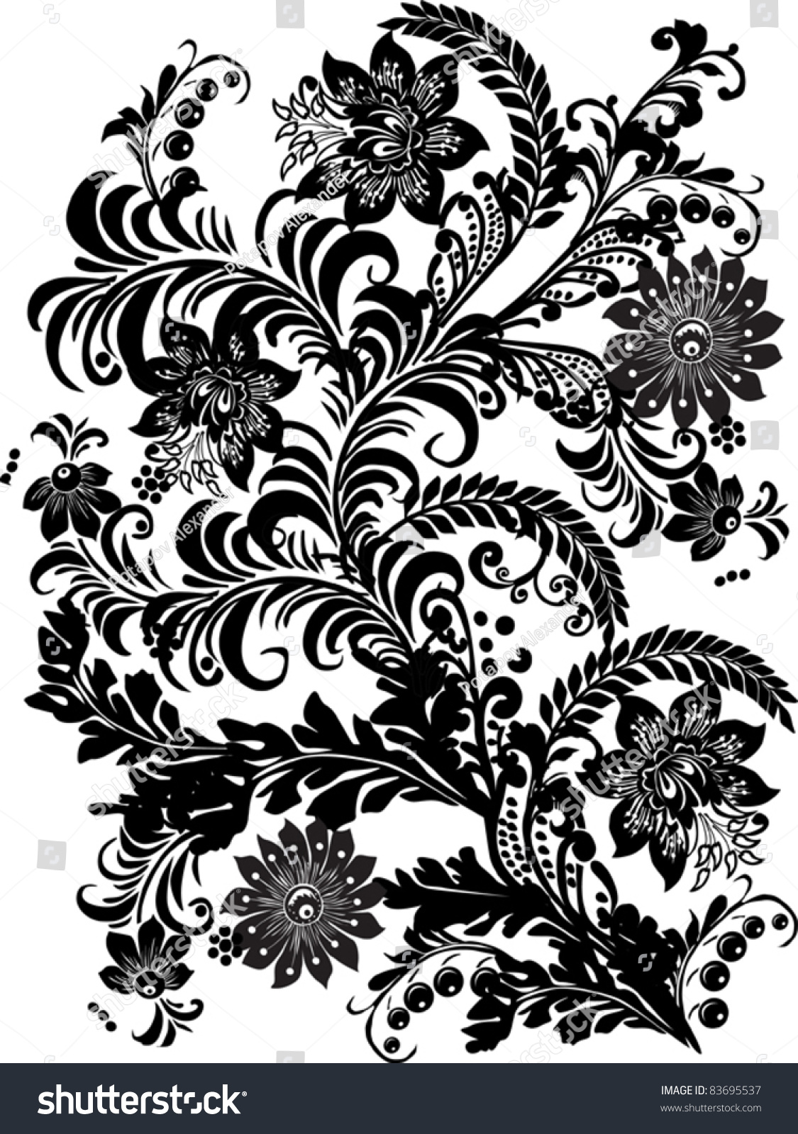 Illustration black flowers design on white stock vector royalty illustration with black flowers design on white background mightylinksfo