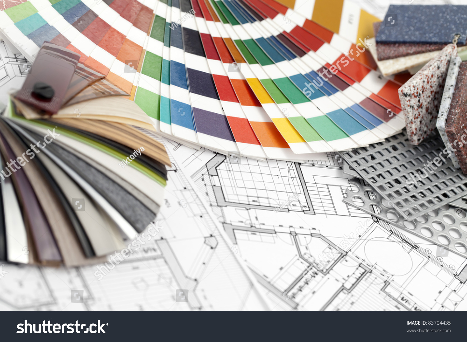 Palette of colors designs for interior works samples of plastics pvc for furnishing
