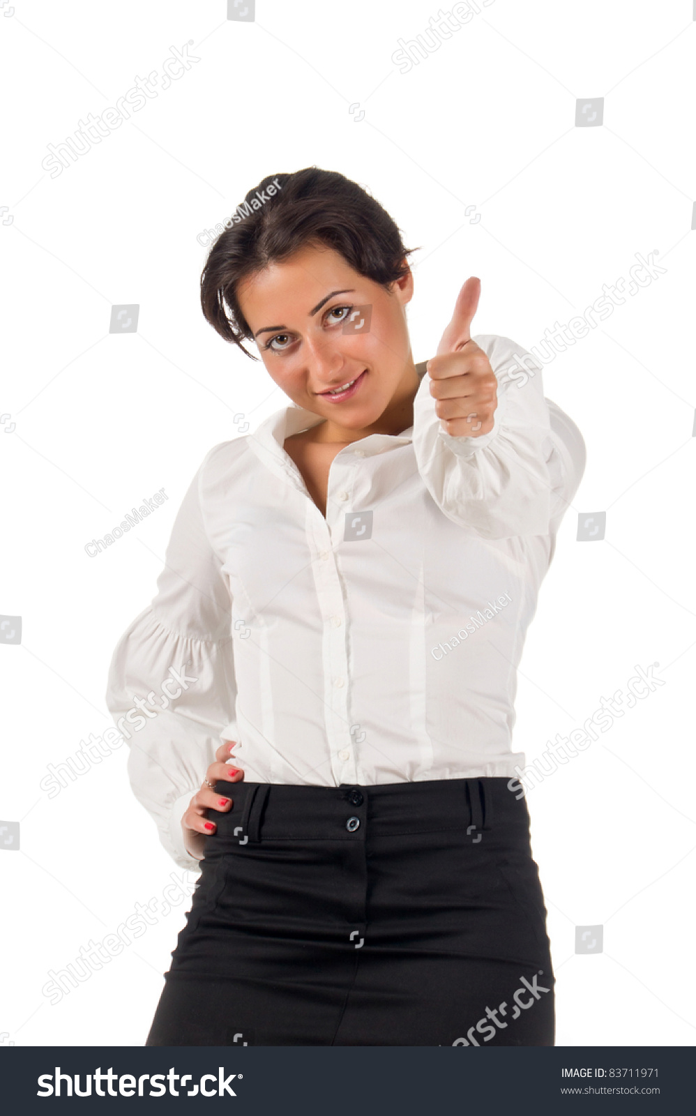877896d9401 Dark haired white blouse and black skirt dressed young business woman  smiles and set thumb up