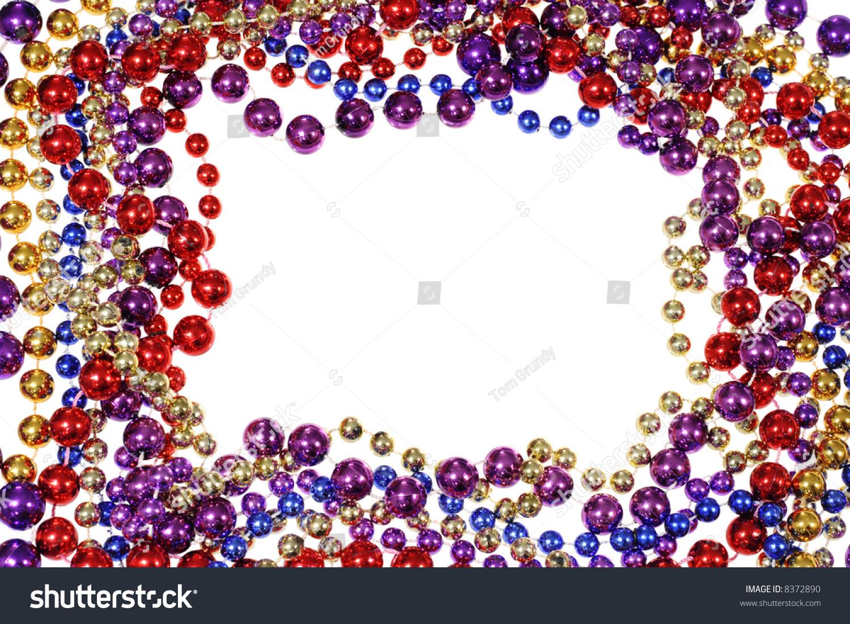 Mardi Gras Beads Border Clip Art border frame of mardi gras bead ...