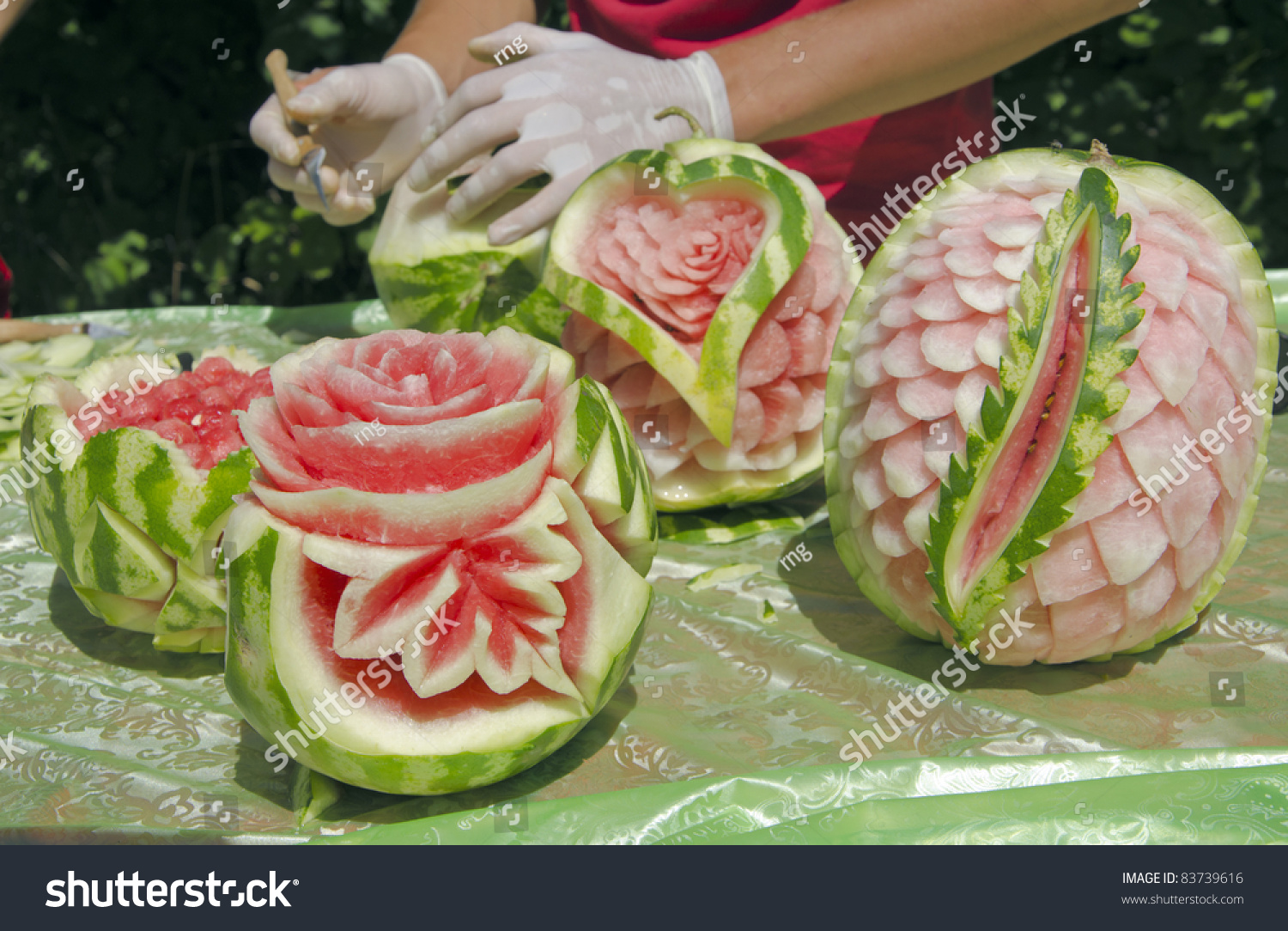 Watermelon carving festival stock photo edit now