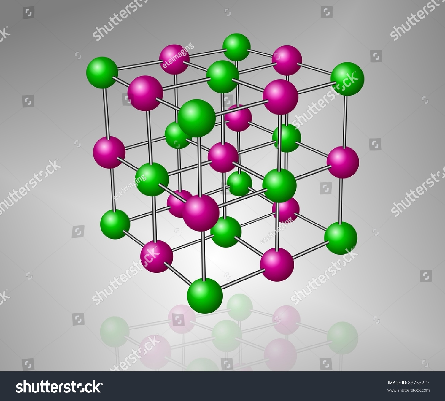 Crystalline Structure Model Sodium Chloride Molecule Stock