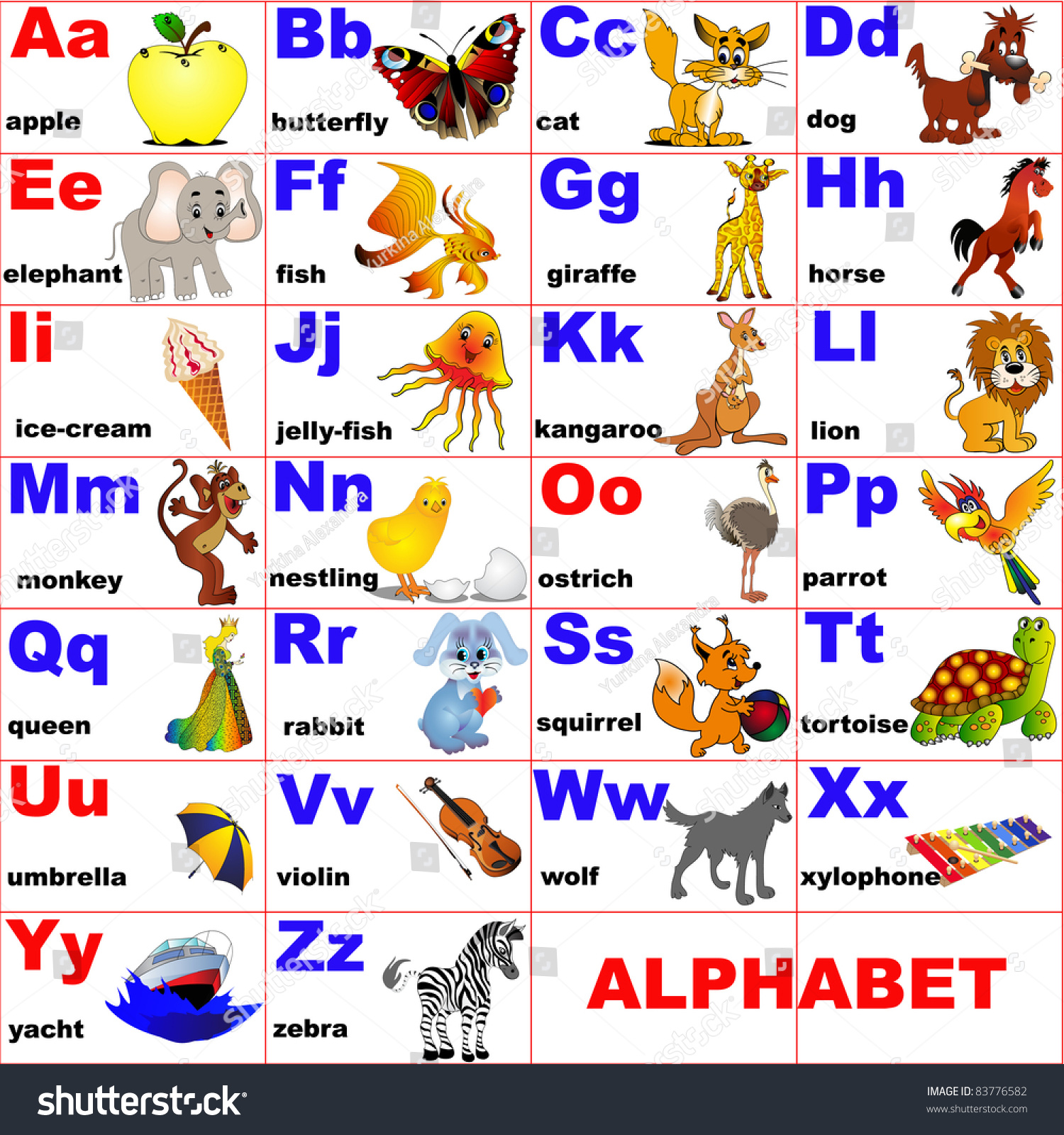 illustration animals placed on letter alphabet stock vector
