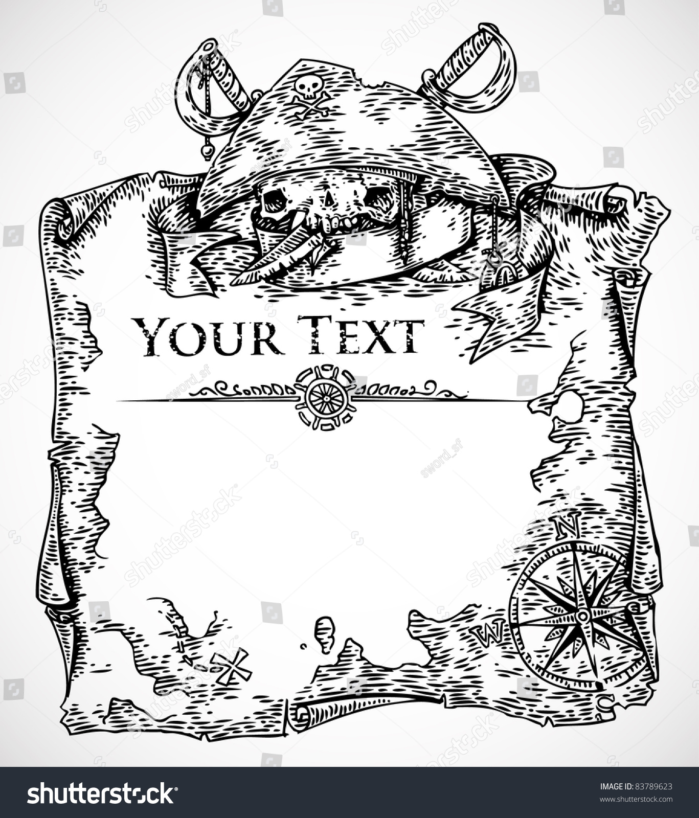 vector black white engraved pirate treasure stock vector royalty