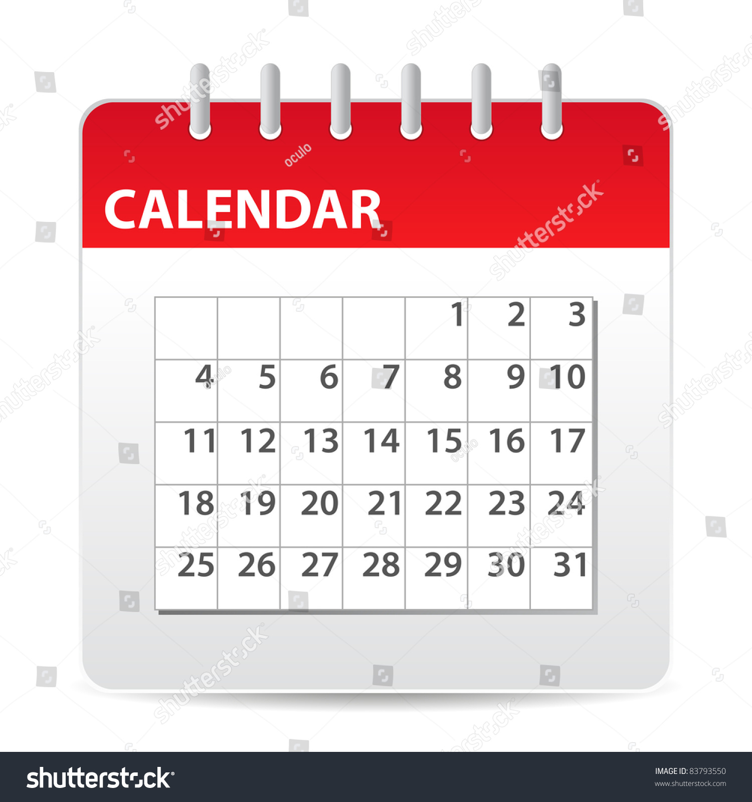Calendar Red : Red calendar icon days month stock vector