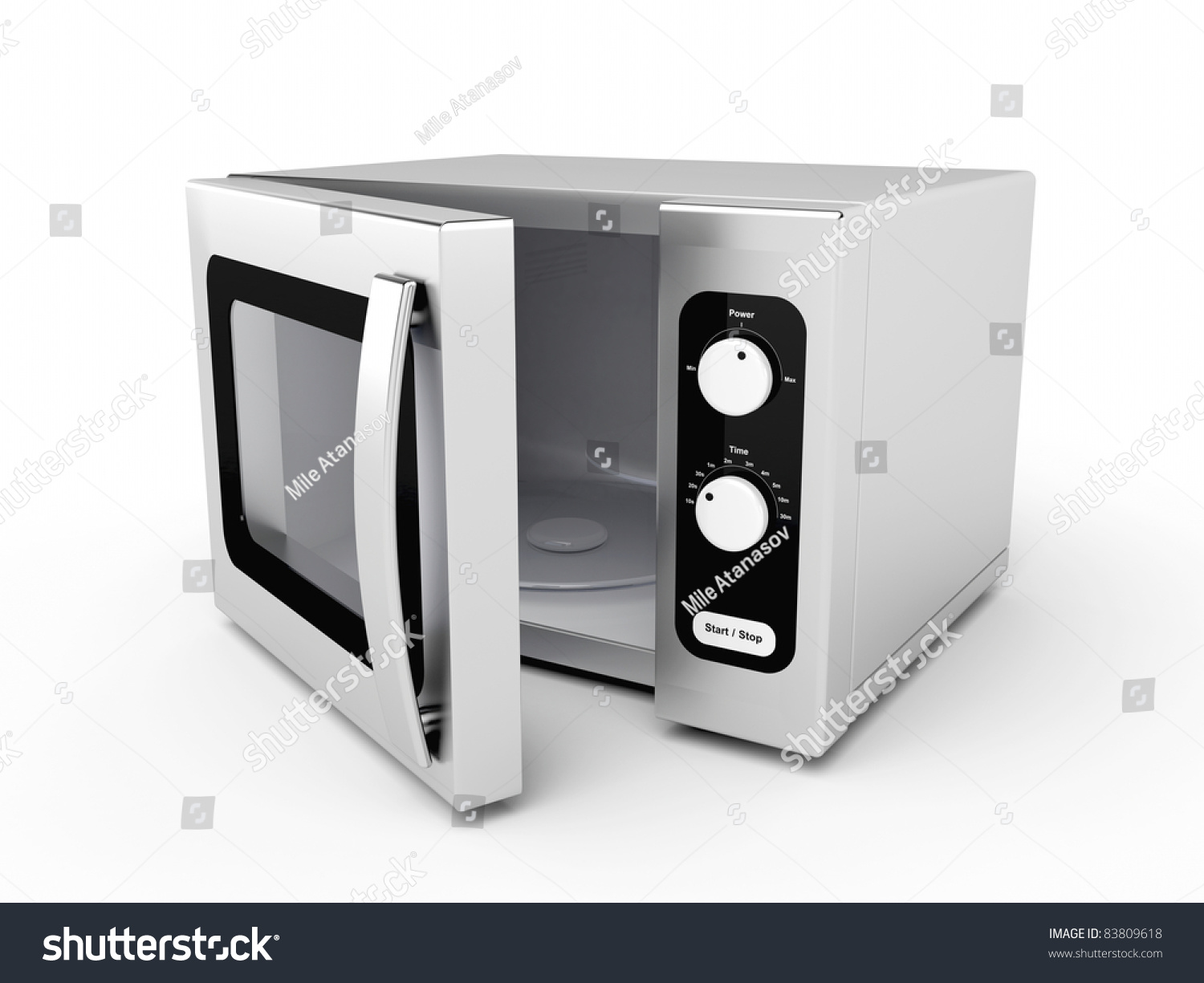 Silver Microwave Oven With Open Door On White Background ...