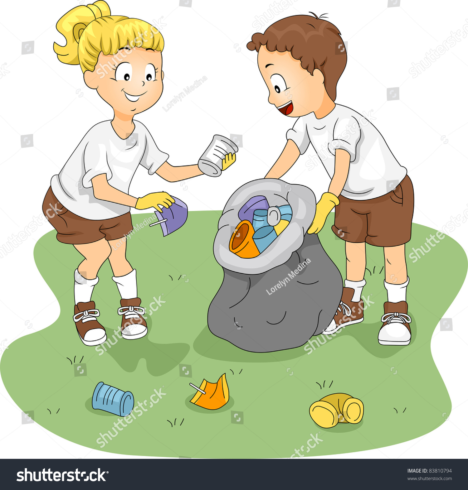 kids cleaning classroom clipart