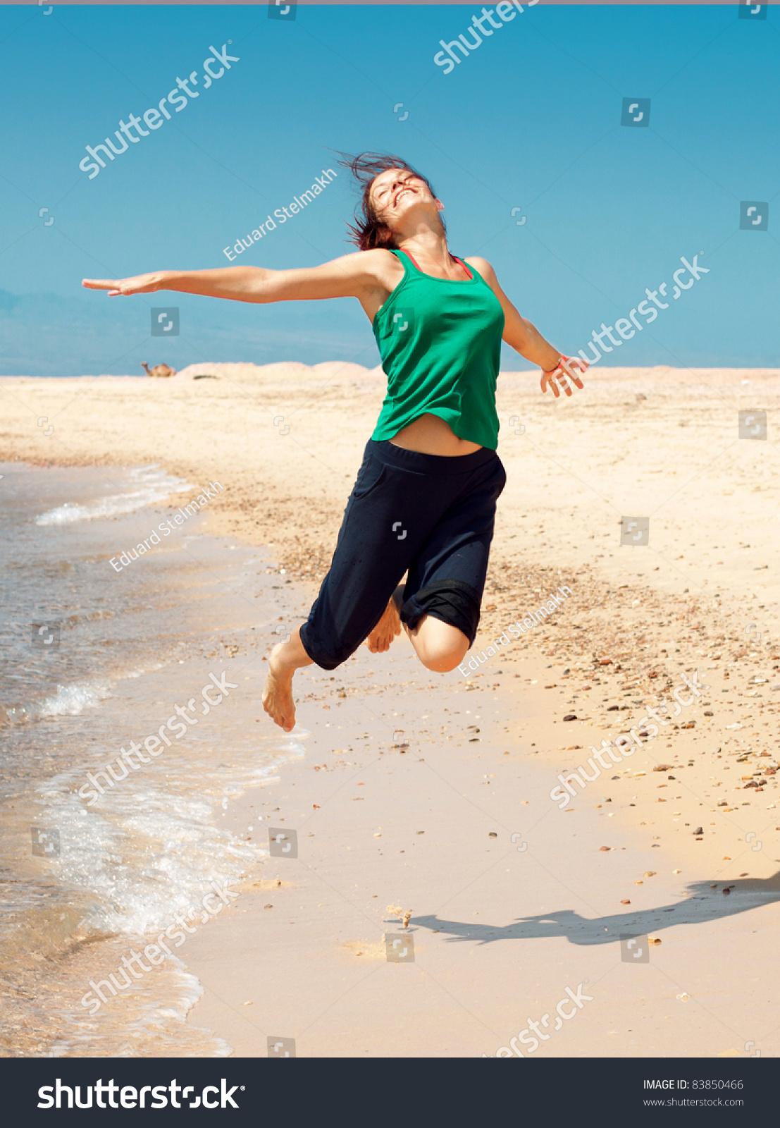 Girl Running On Beach Stock Photo 83850466 : Shutterstock Girl Running On Beach