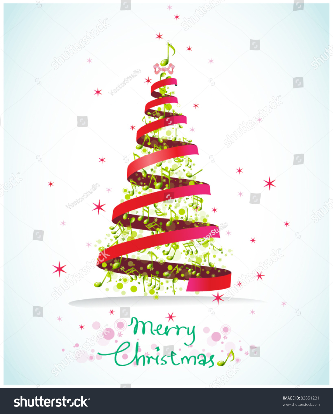 Christmas Musical Card Stock Vector Royalty Free 83851231