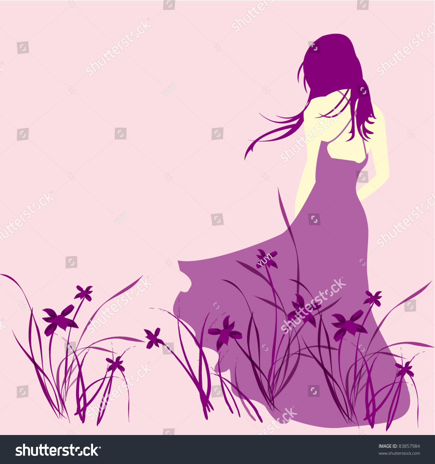Stock Vector Lonely Girl