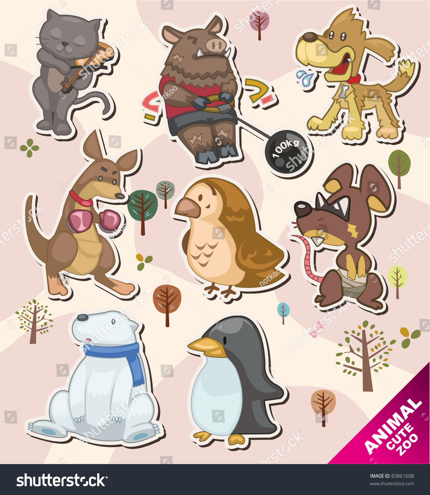 cartoon animal stickers in -#main