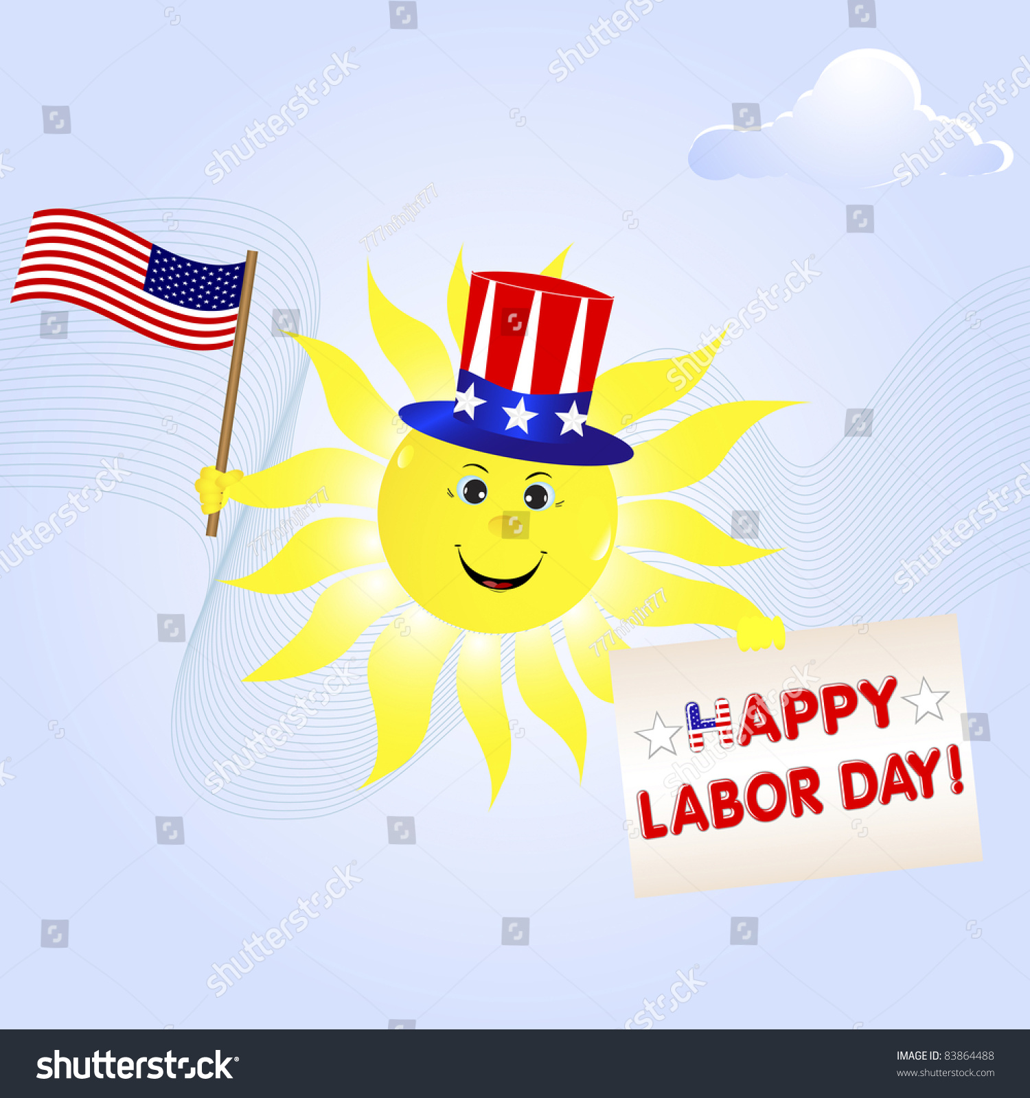 Labor Day The Smiling Sun With The American Flag And A Greeting