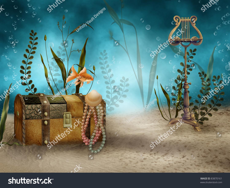 fantasy underwater scenery treasure chest stock illustration