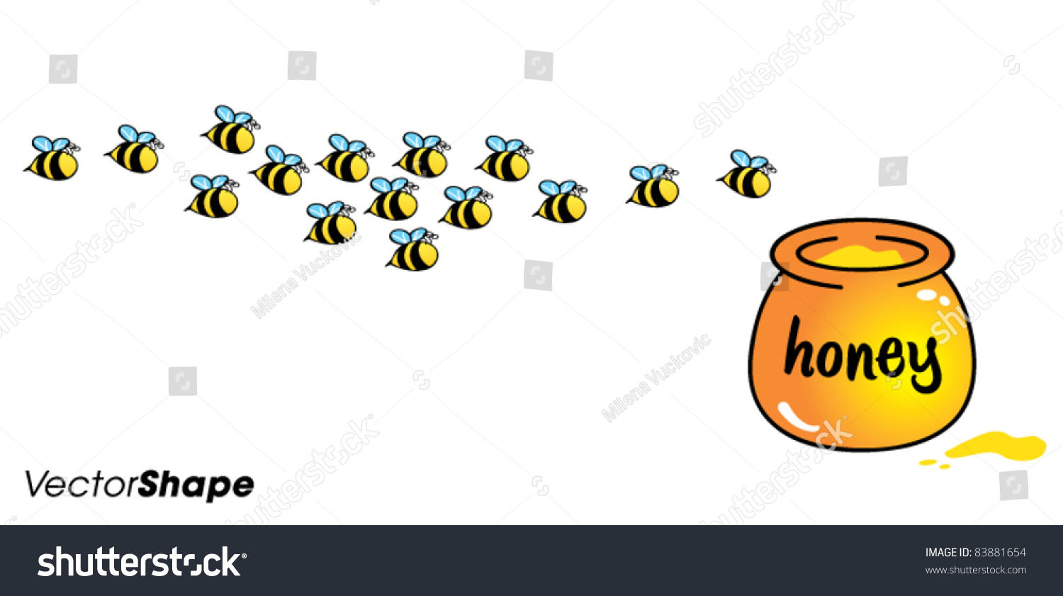 Funny Cute Cartoon Bees Flying Toward Stock Vector ...